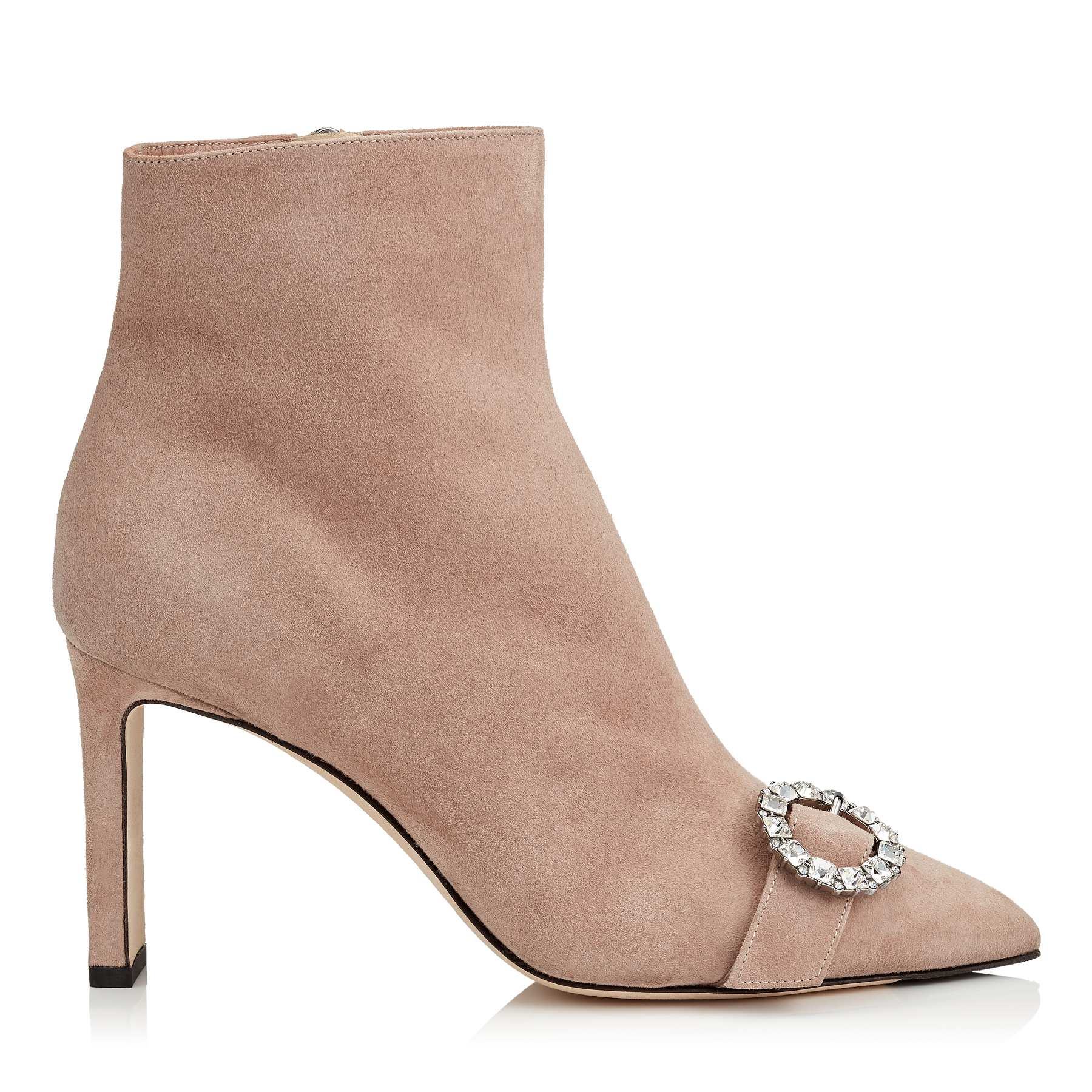 HANOVER 85 Ballet Pink Suede Booties with Crystal Buckle by Jimmy Choo