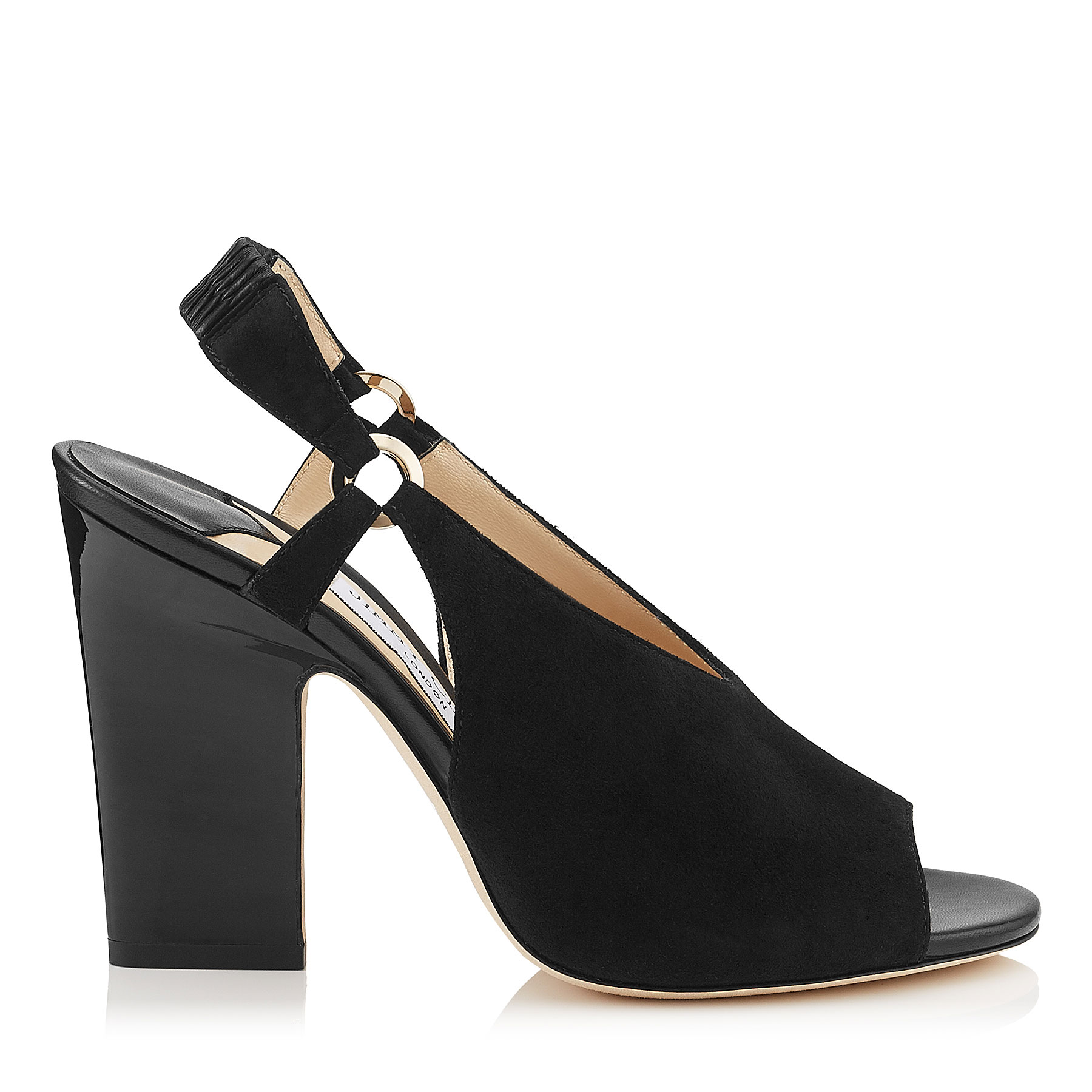 HANSA 100 Black Suede and Nappa Leather Ankle Sandals by Jimmy Choo