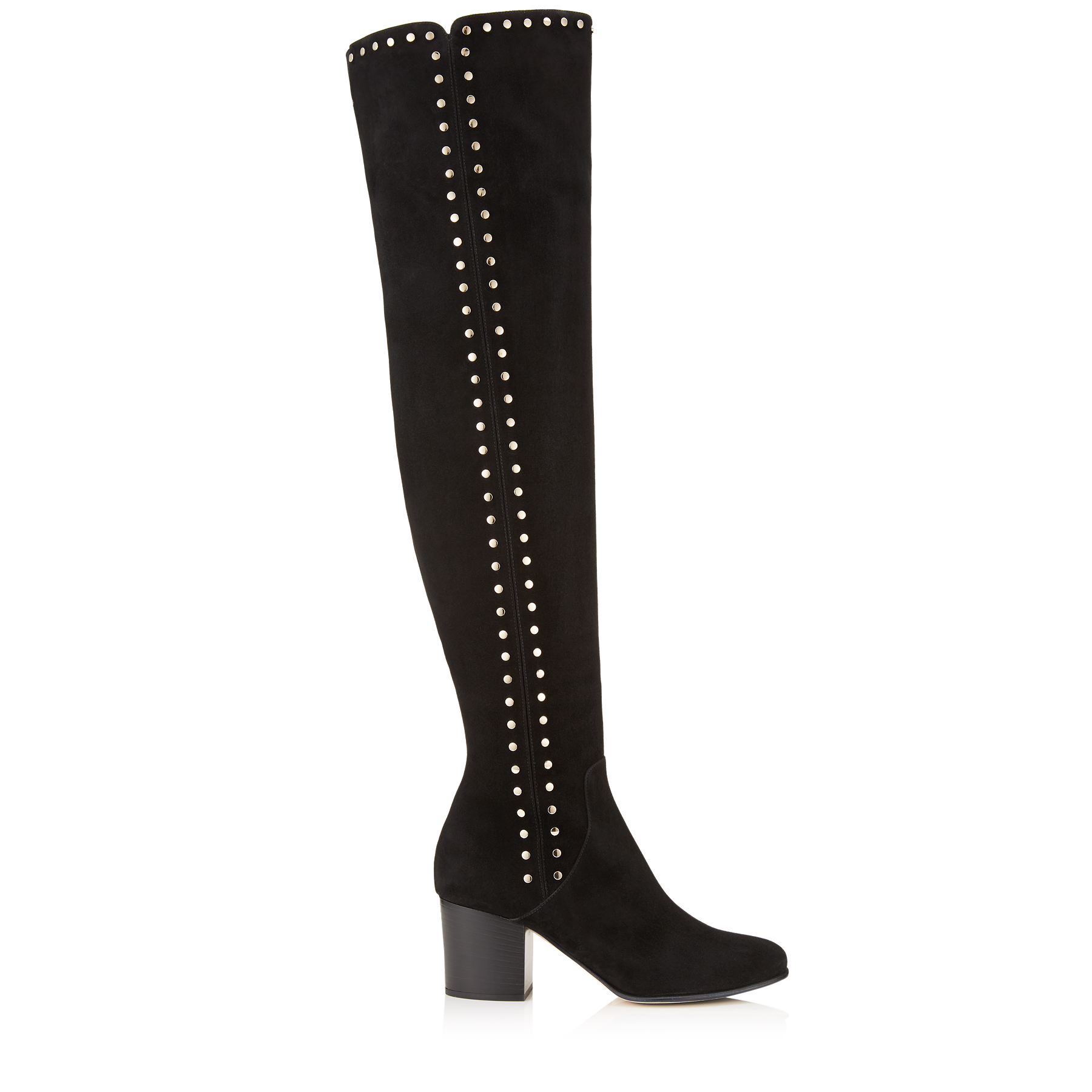 HARLEM 65 Black Suede Over The Knee Boots with Studded Trim by Jimmy Choo