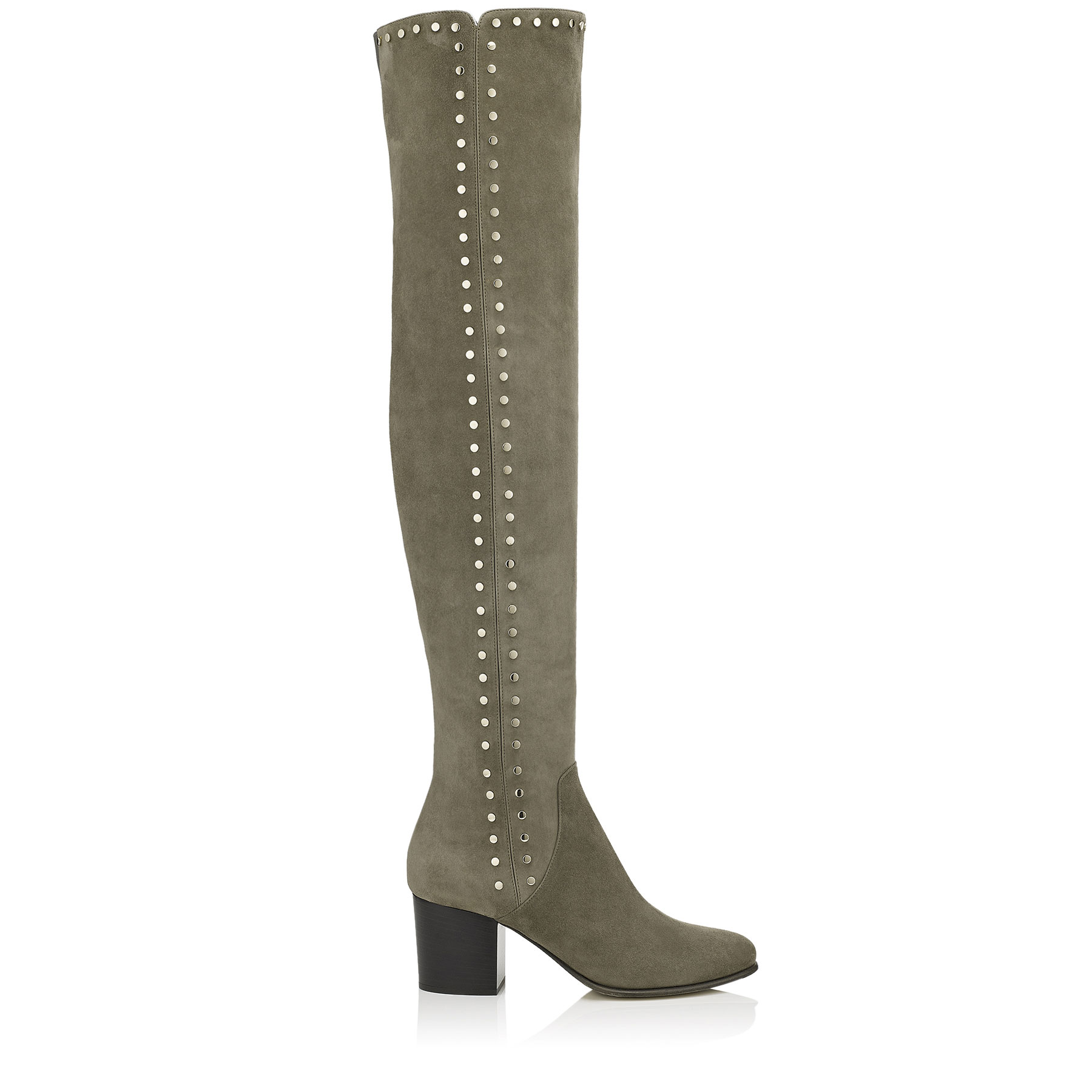 HARLEM 65 Mink Suede Over The Knee Boots with Studded Trim by Jimmy Choo