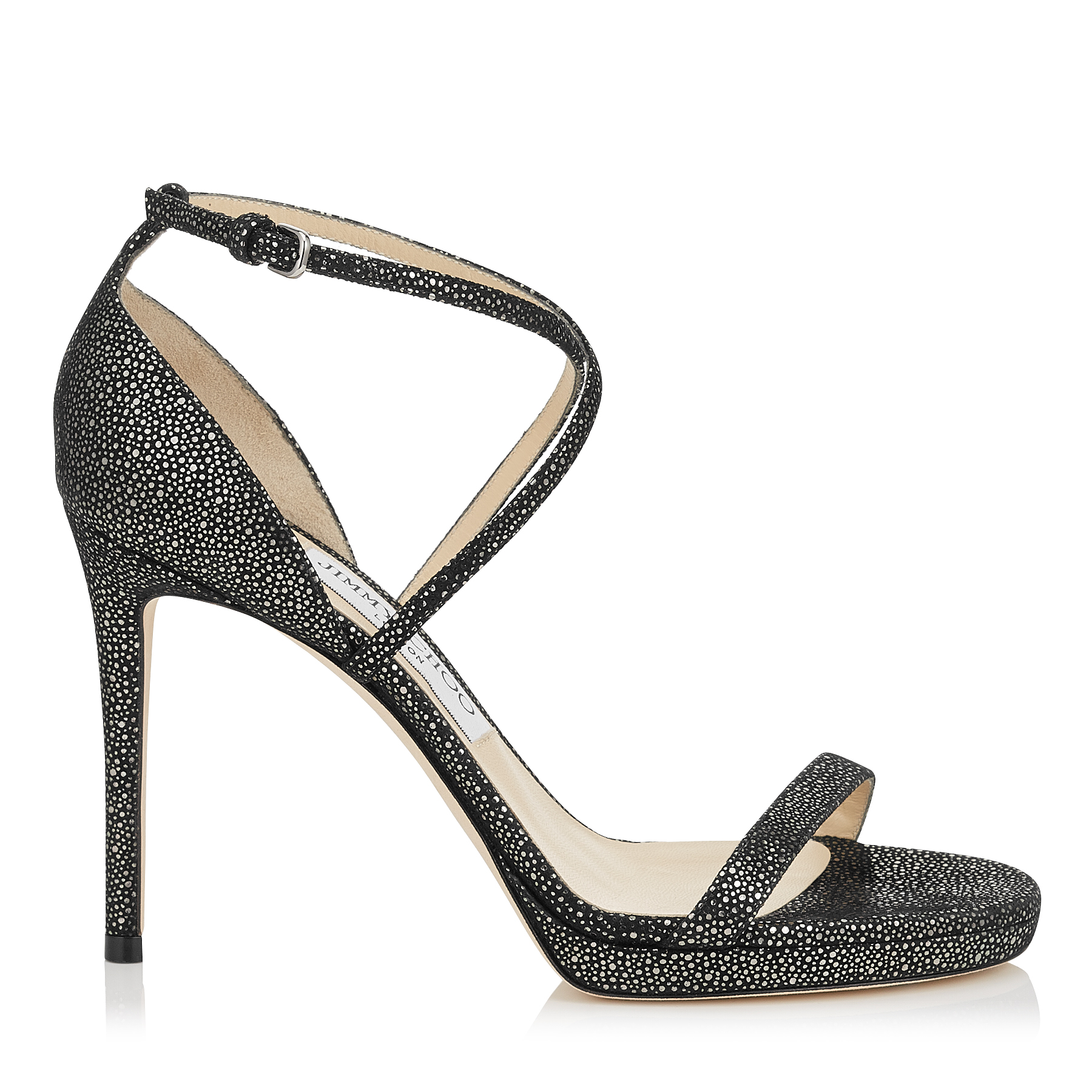 Photo of HARPER 100 Anthracite and Black Metallic Spotted Suede Sandals by Jimmy Choo womens shoes - buy Jimmy Choo footwear online