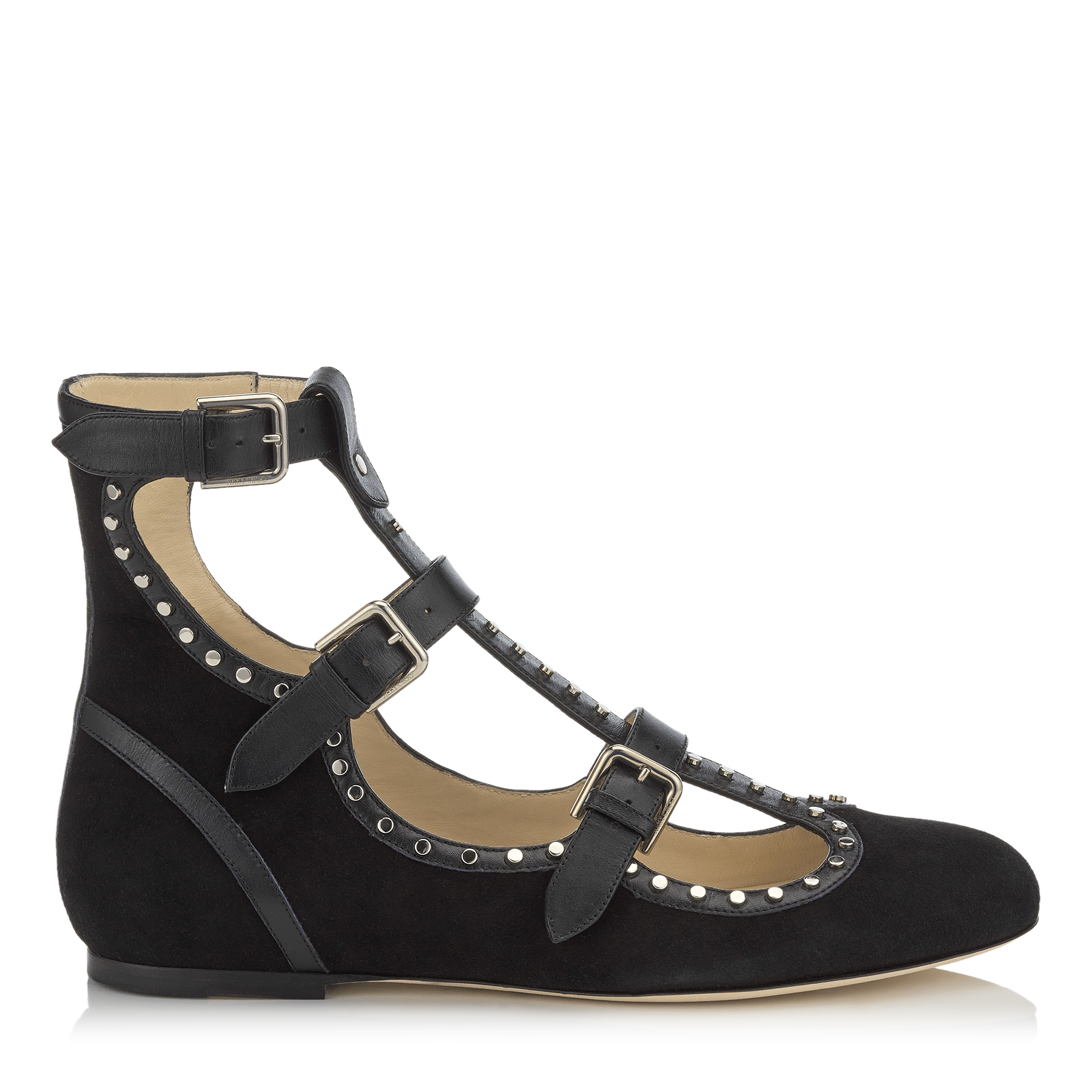 HARTLEY FLAT Black Suede and Shiny Leather Round Toe Flats with Studs by Jimmy Choo