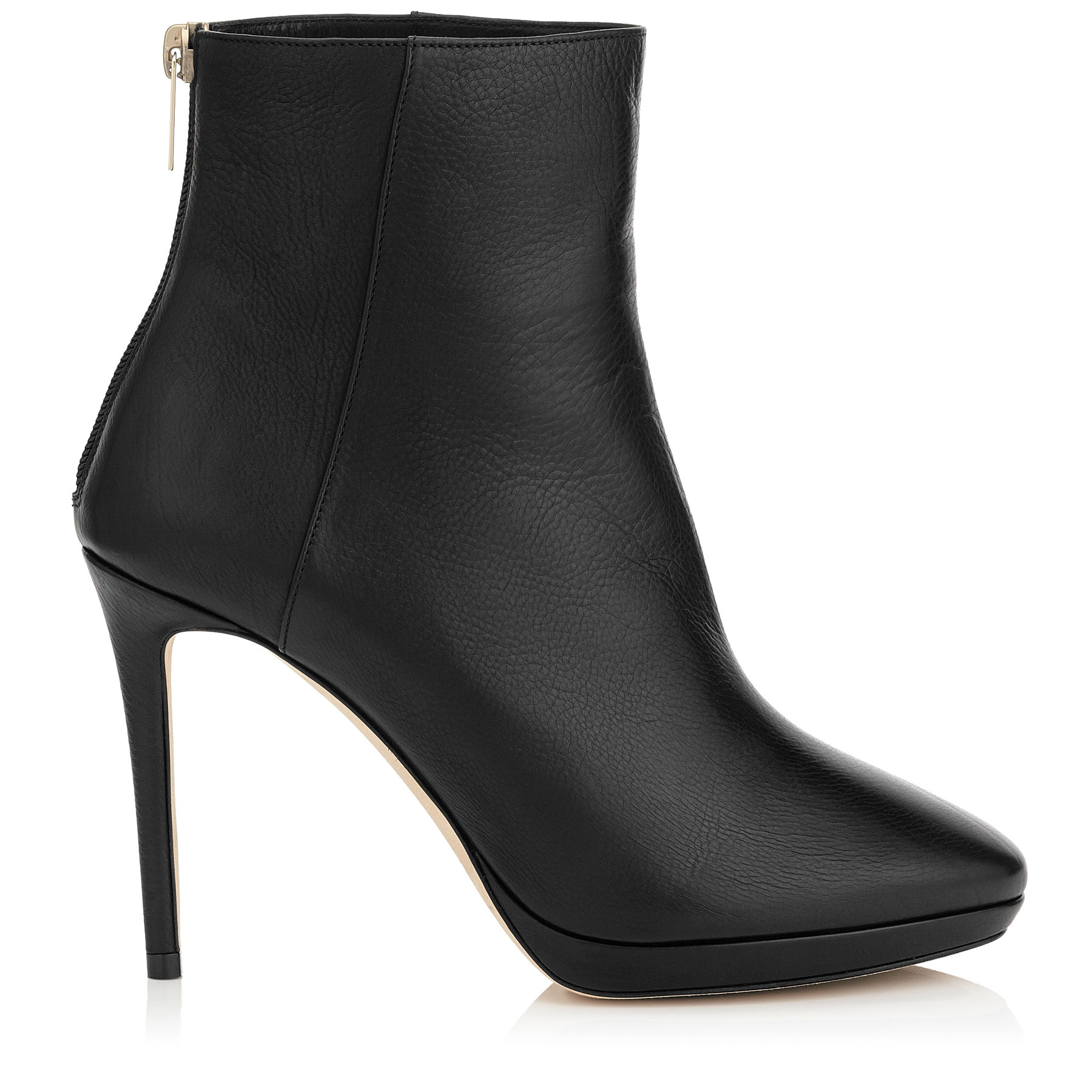 HARVEY 100 Black Grainy Calf Leather Platform Ankle Boots by Jimmy Choo