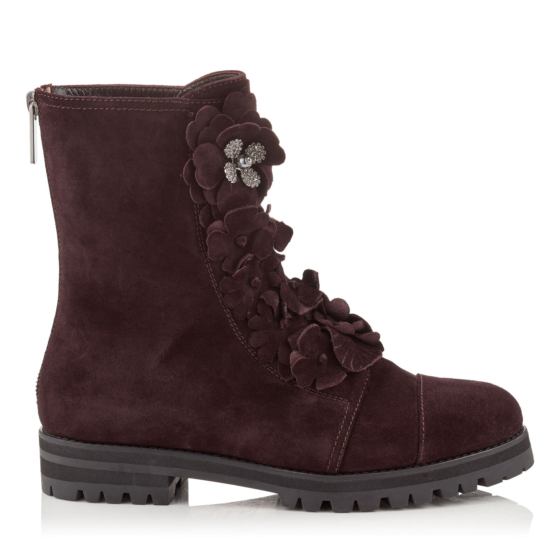 HAVANA FLAT Burgundy Suede Combat Boots with Floral Appliqué by Jimmy Choo