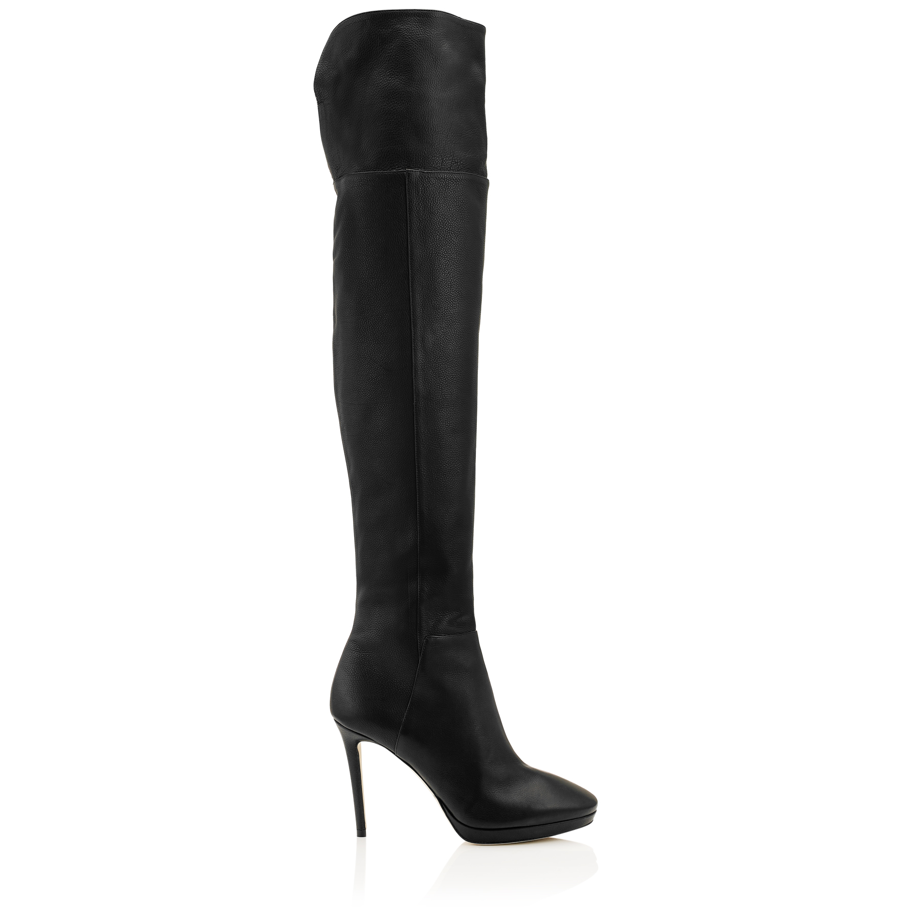 HAYLEY 100 Black Grainy Calf Leather Over-The-Knee Boots by Jimmy Choo
