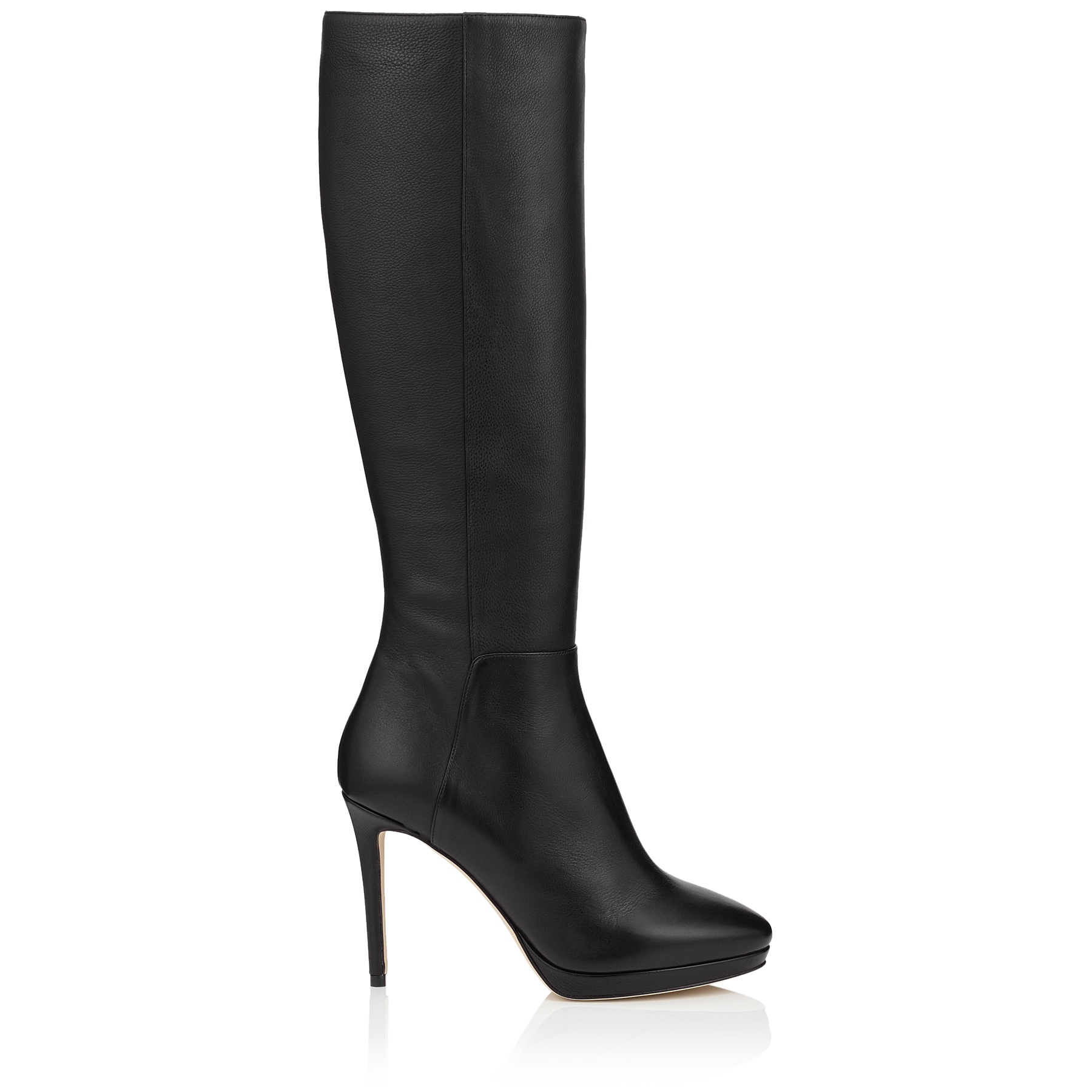 HOXTON 100 Black Grainy Calf Leather Knee High Boots by Jimmy Choo