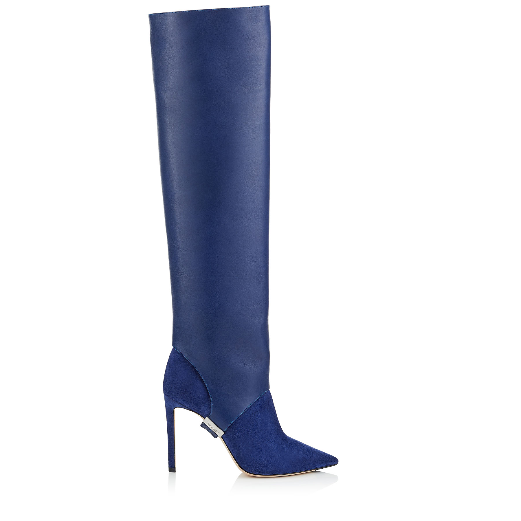 HURLEY 100 Pop Blue Suede and Calf Leather Two-Piece Knee-High Booties by Jimmy Choo