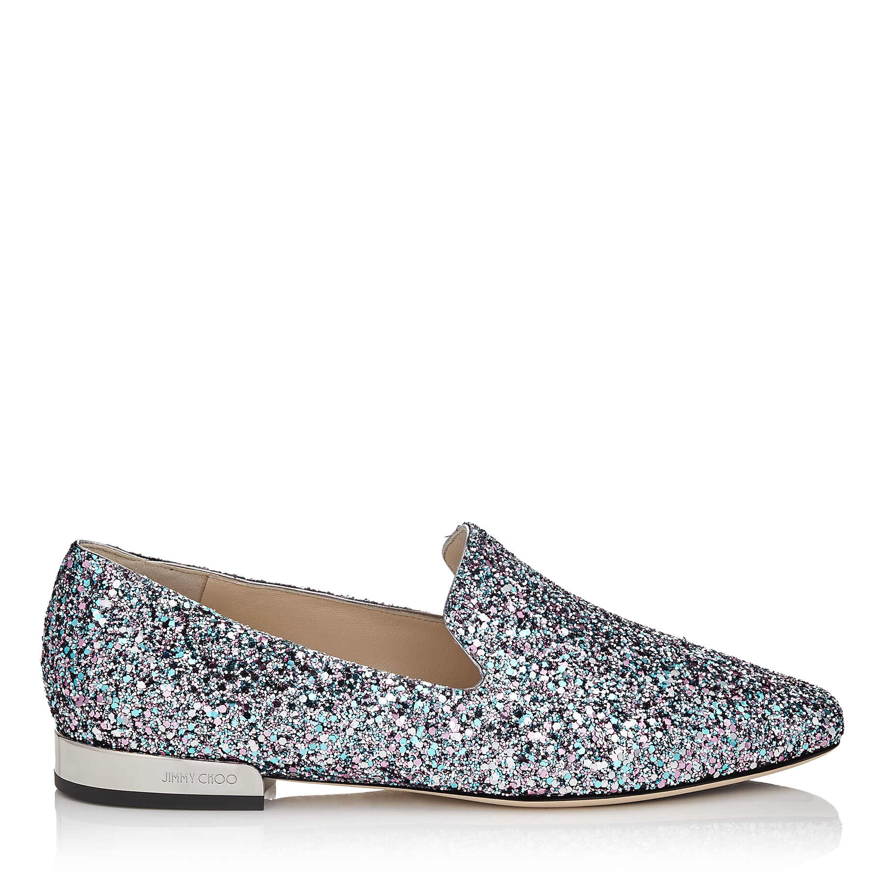 JAIDA FLAT Bubblegum Coarse Glitter Fabric Square Toe Slippers by Jimmy Choo