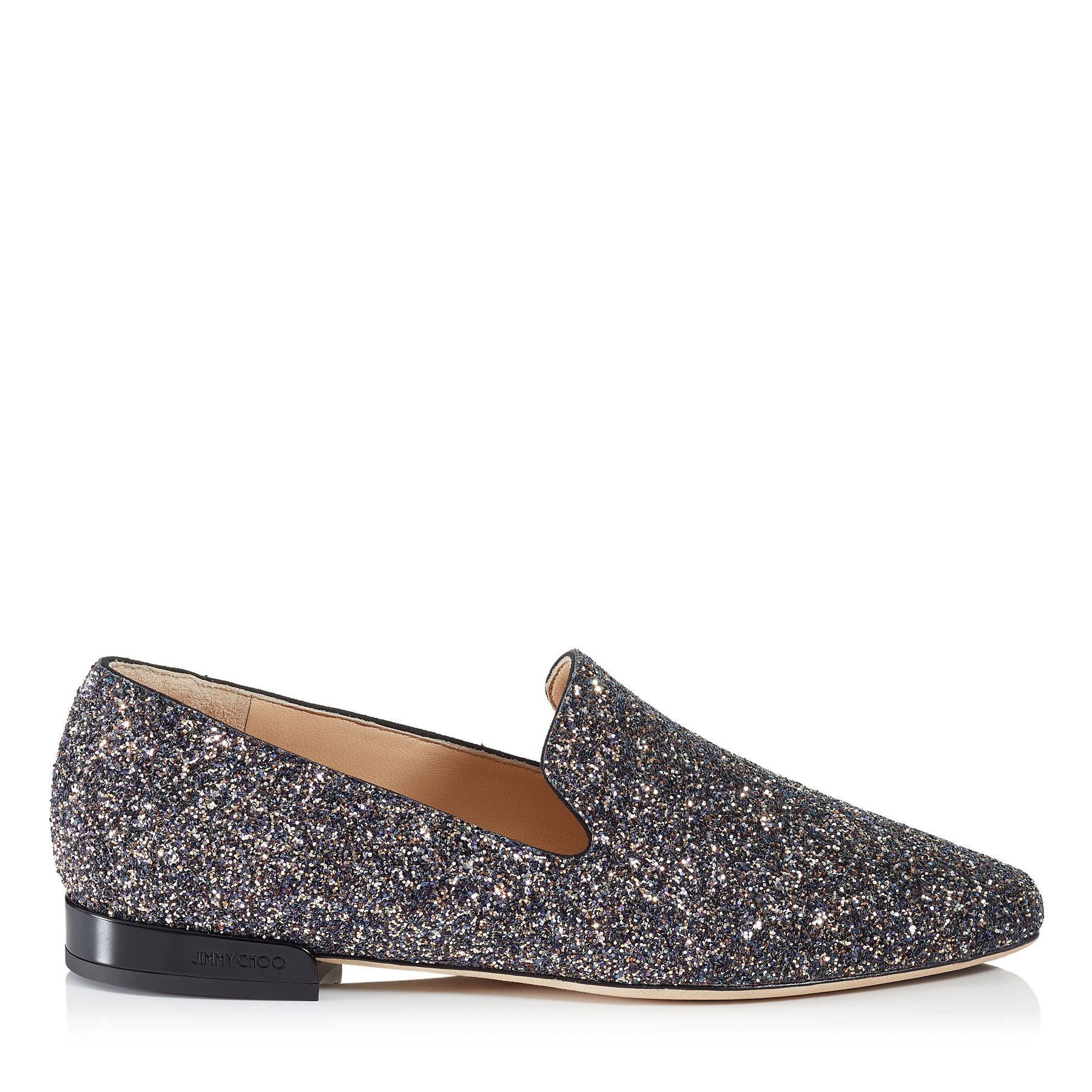 JAIDA FLAT Twilight Glitzy Glitter Fabric Square Toe Slippers by Jimmy Choo