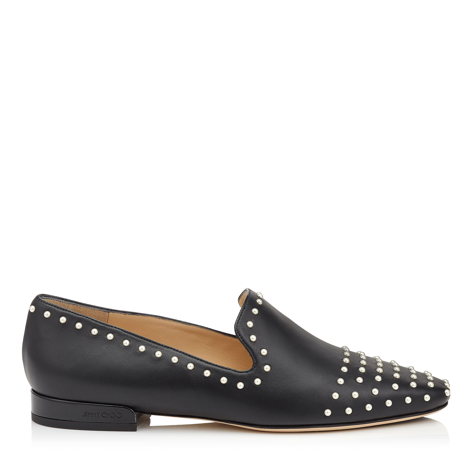 JAIDA FLAT Black Leather Pearl Slippers by Jimmy Choo