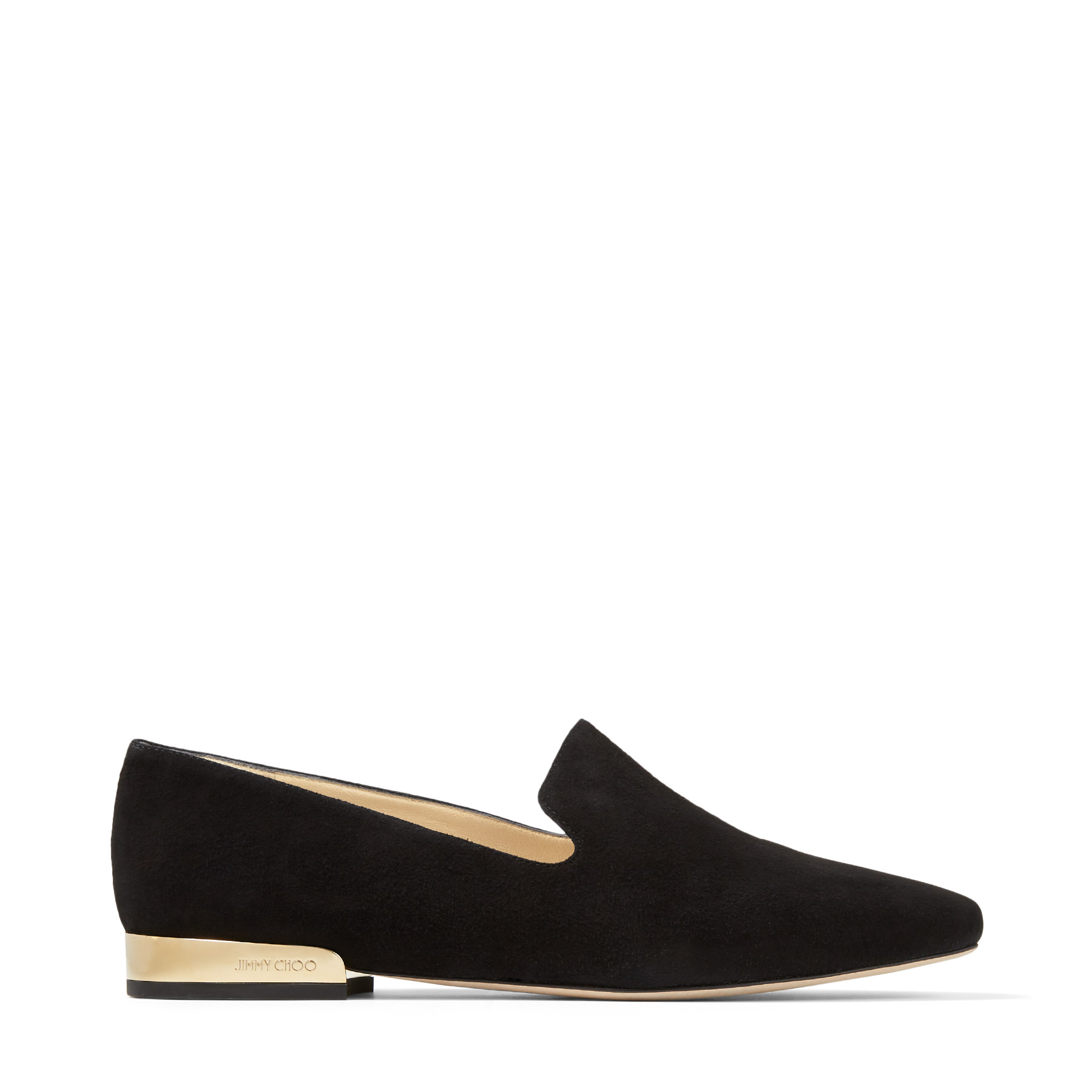 JAIDA FLAT Black Suede Square Toe Slippers by Jimmy Choo