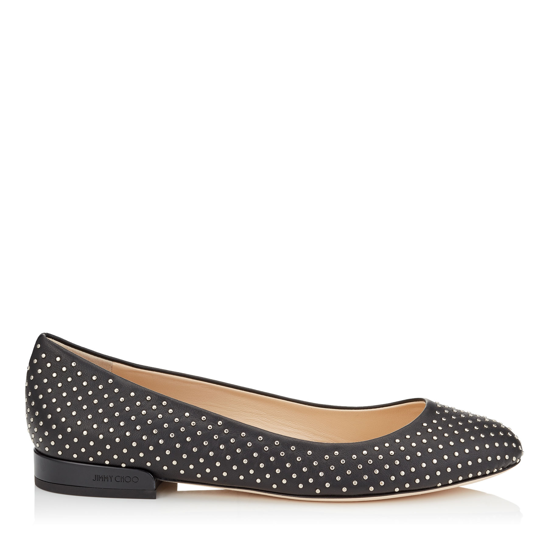 JESSIE FLAT Black Nappa Leather Round Toe Pumps with Silver Micro Studs by Jimmy Choo