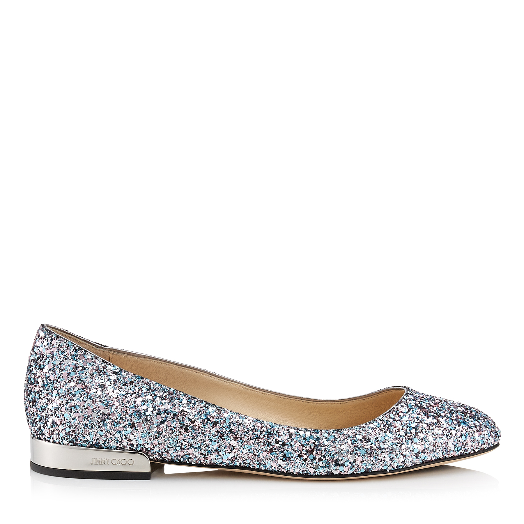 JESSIE FLAT Bubblegum Coarse Glitter Fabric Round Toe Pumps by Jimmy Choo
