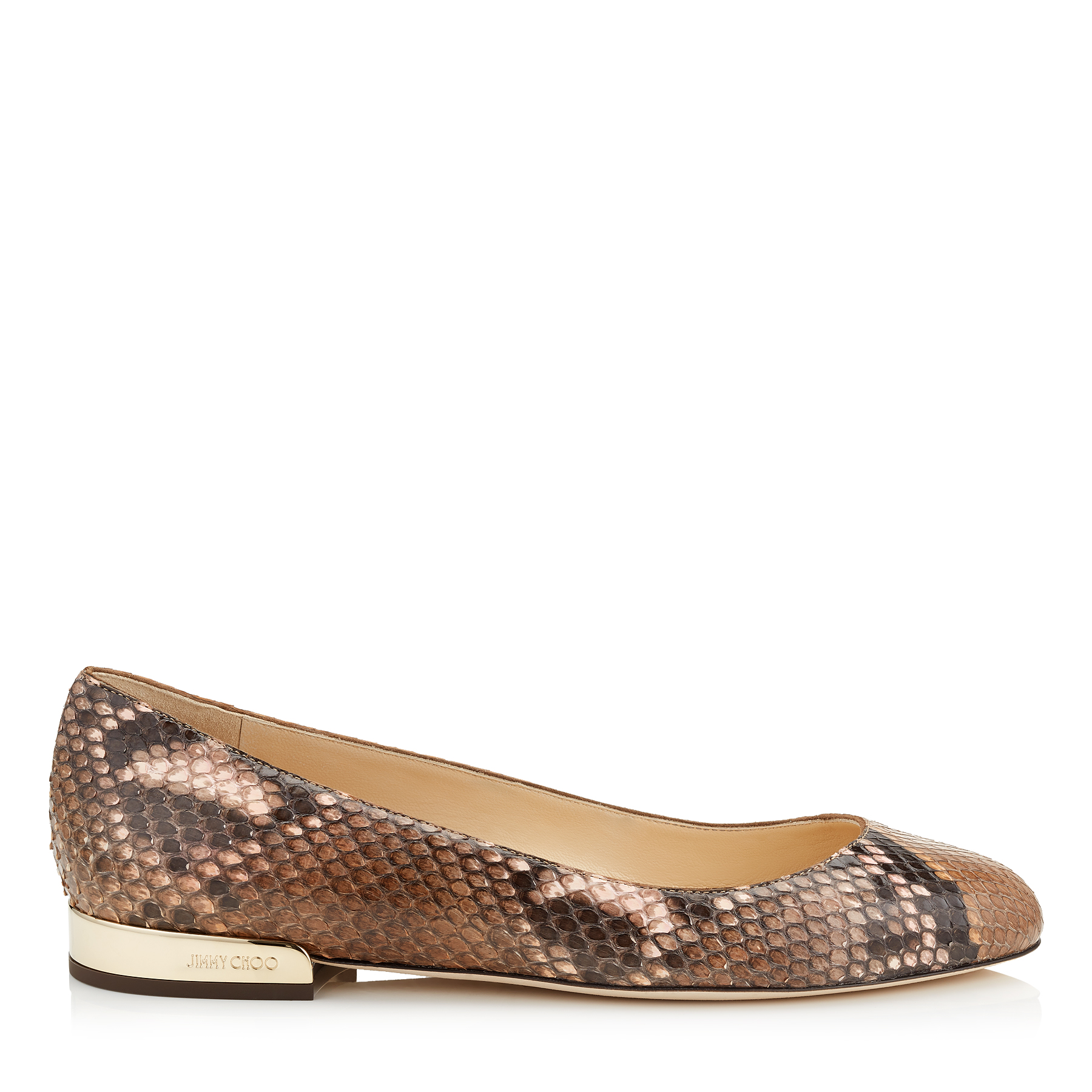 JESSIE FLAT Nutmeg and Rosewater Dégradé Painted Python Round Toe Pumps by Jimmy Choo