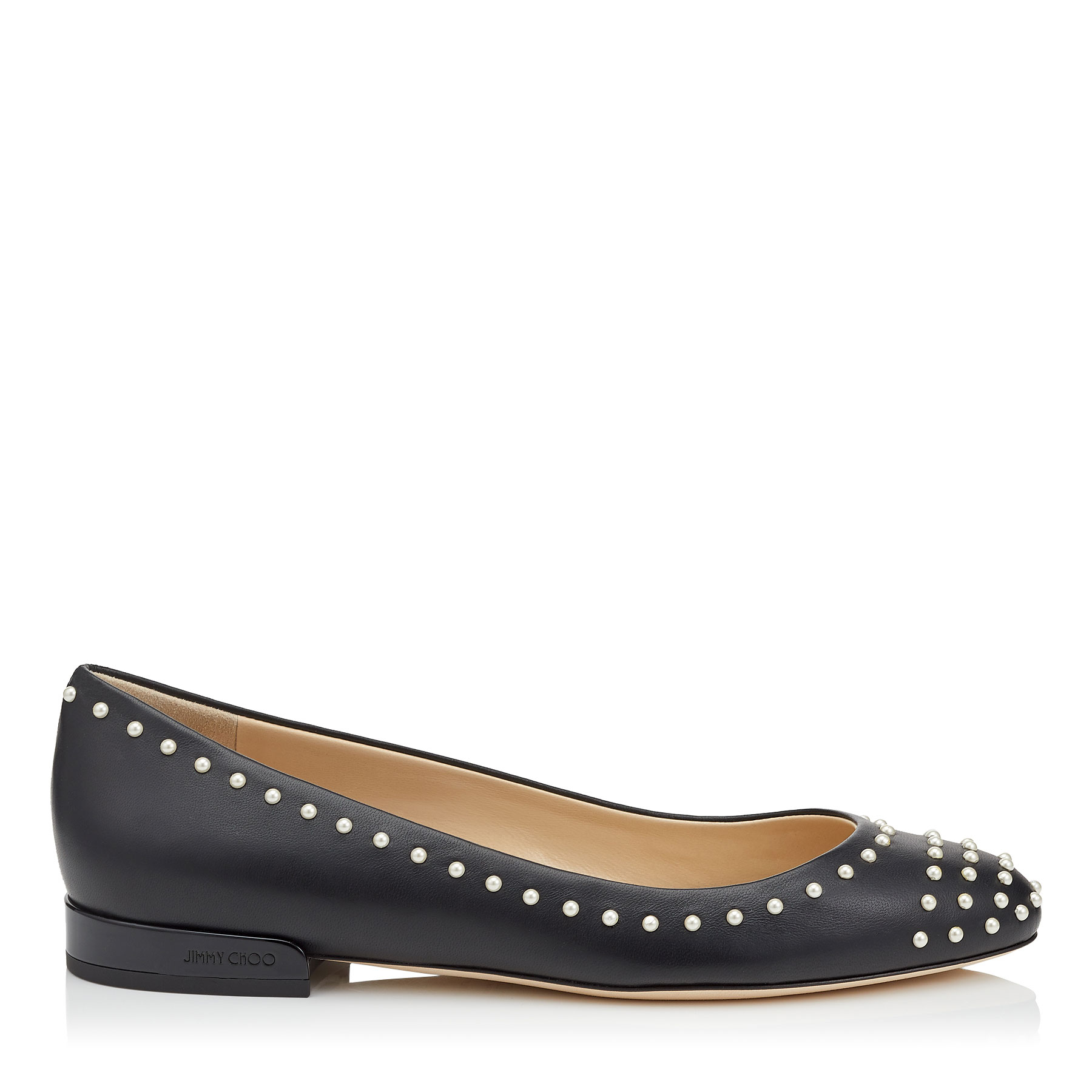 JESSIE FLAT Black Leather Round Toe Pumps with Pearl Detailing by Jimmy Choo