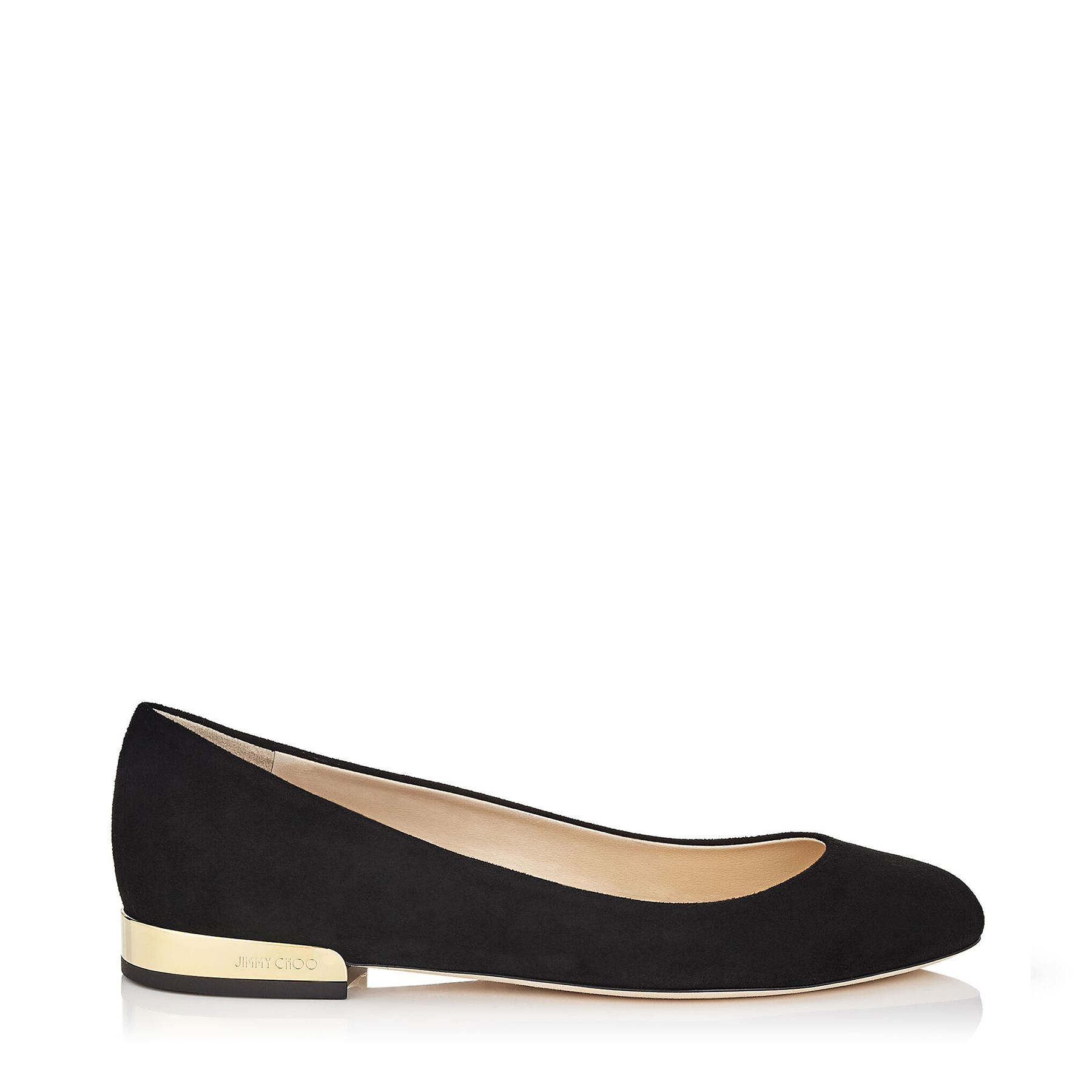 JESSIE FLAT Black Suede Round Toe Pumps by Jimmy Choo