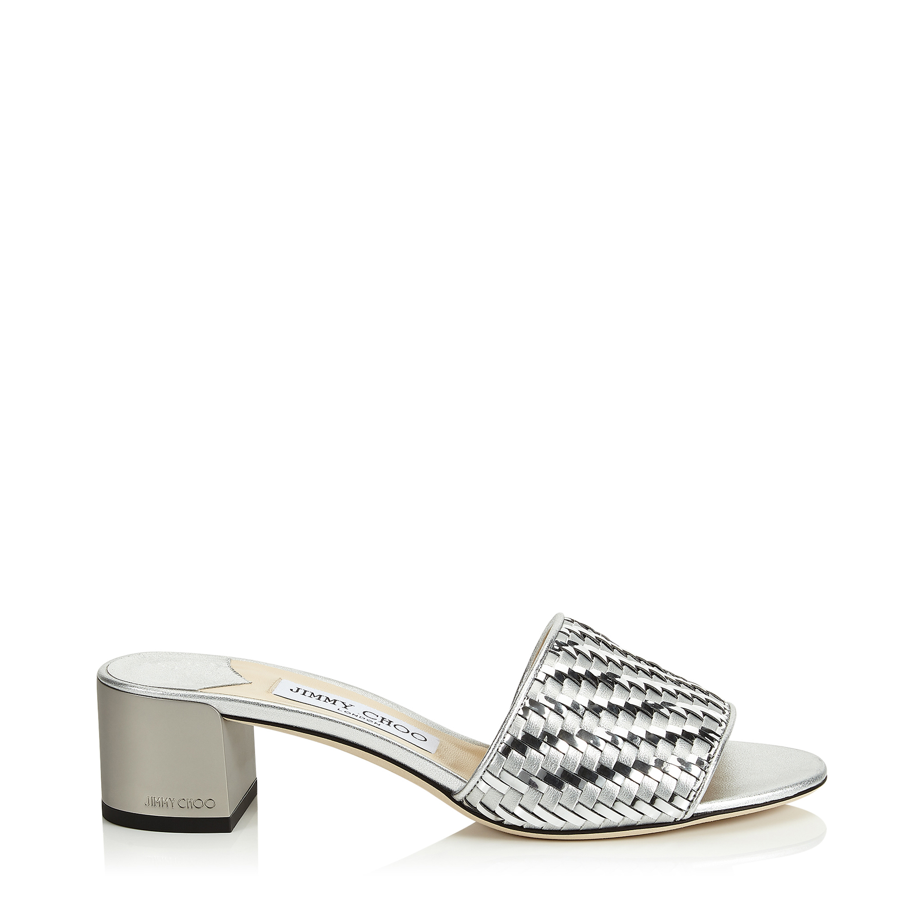 Jimmy Choo Slippers JONI 40 SILVER WOVEN METALLIC FABRIC SLIDES