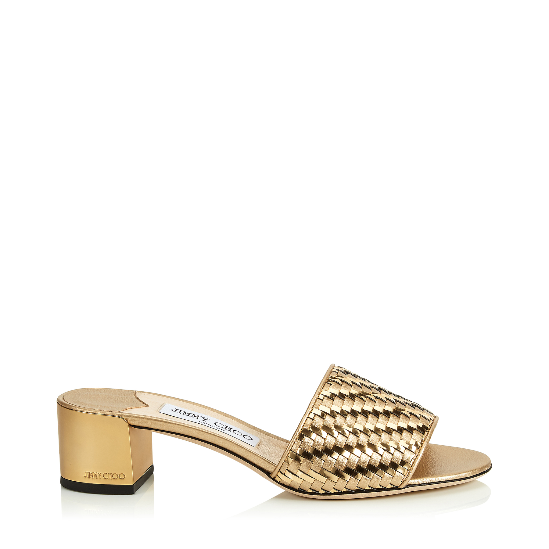 Jimmy Choo Slippers JONI 40 GOLD MIX WOVEN METALLIC FABRIC SLIDES