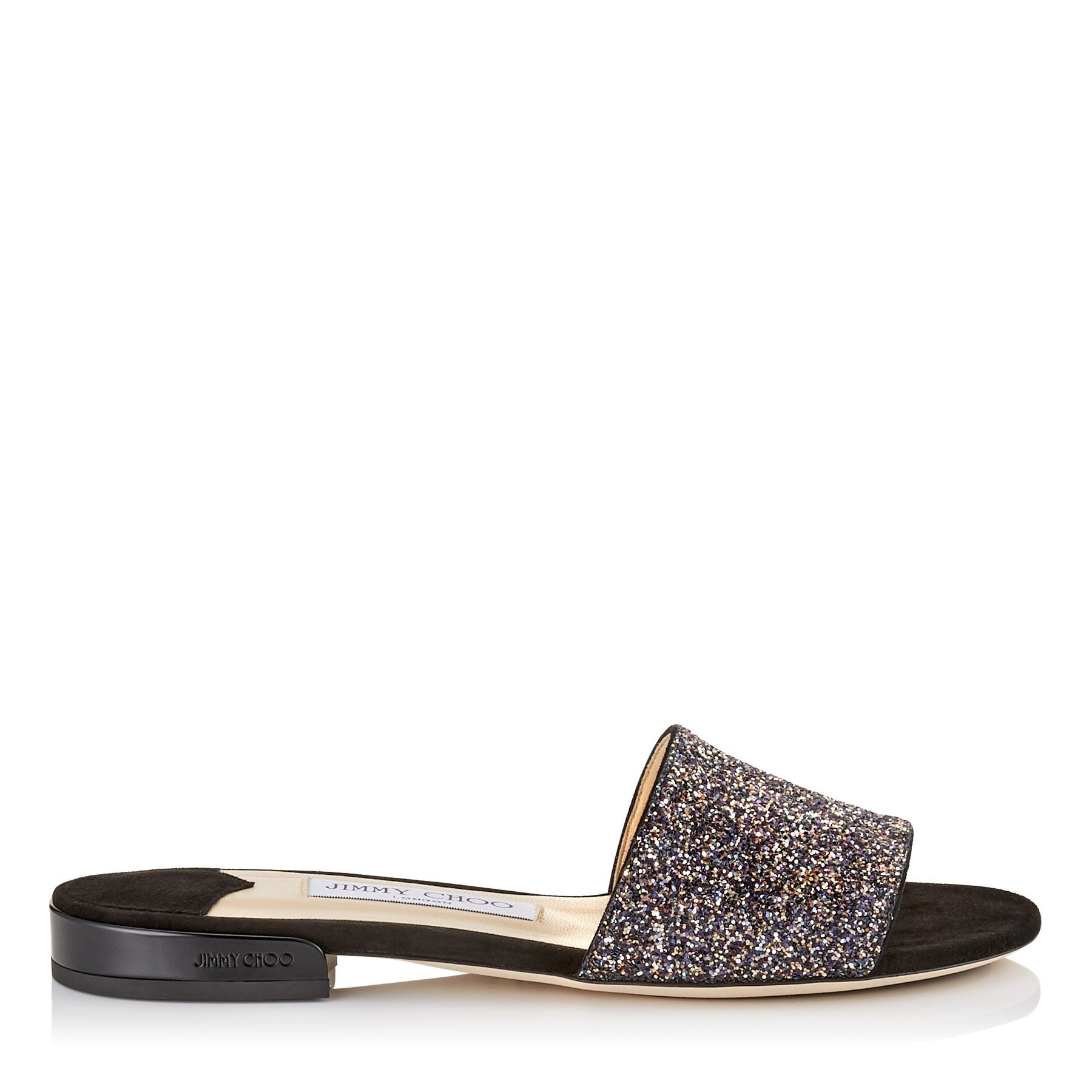 JONI FLAT Twilight Glitzy Glitter Fabric Slides by Jimmy Choo