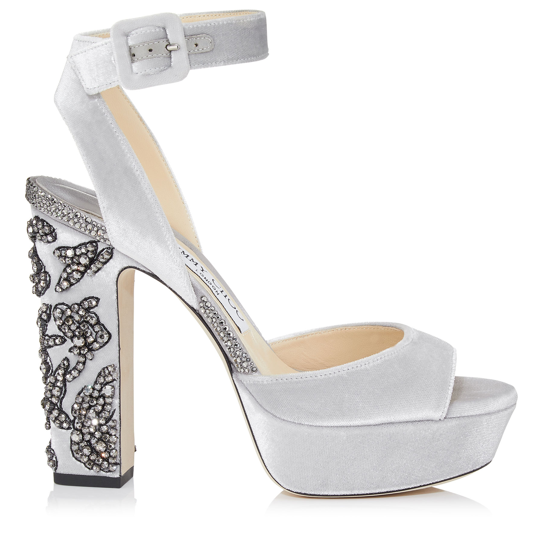 JULIET 120 Silver Velvet Platform Sandals with Peony Crystal Embroidery by Jimmy Choo