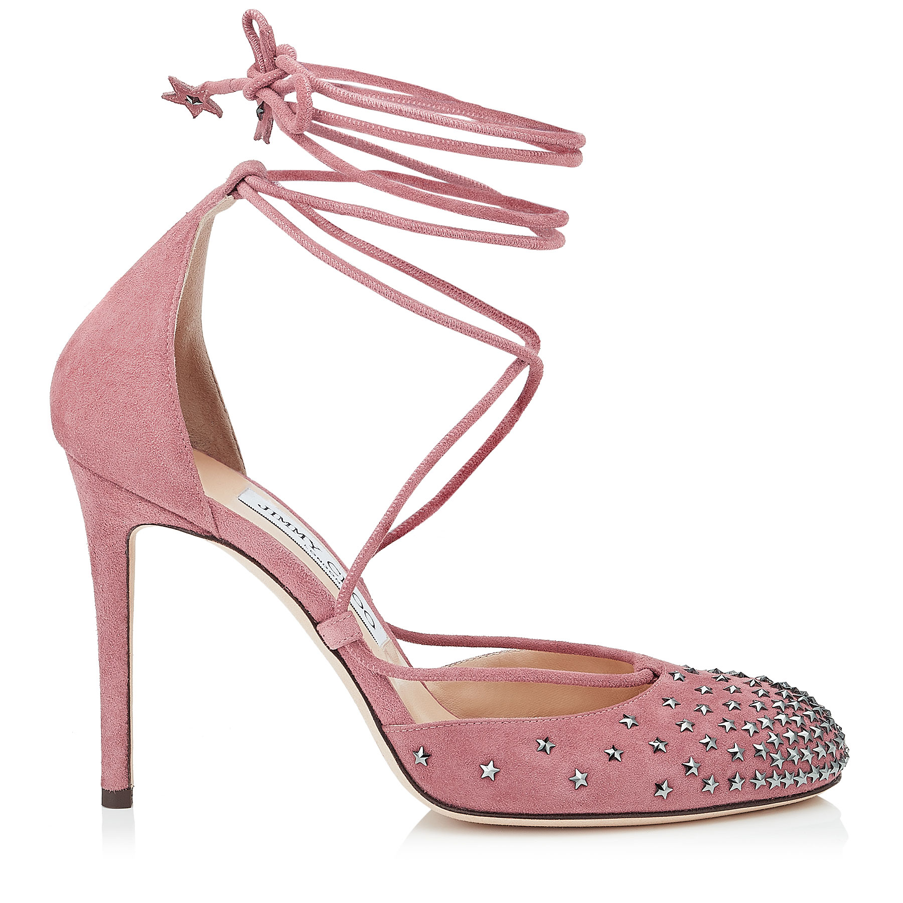 KAMRON 100 Vintage Rose Suede Round Toe Pumps with Dégradé Crystal Stars by Jimmy Choo