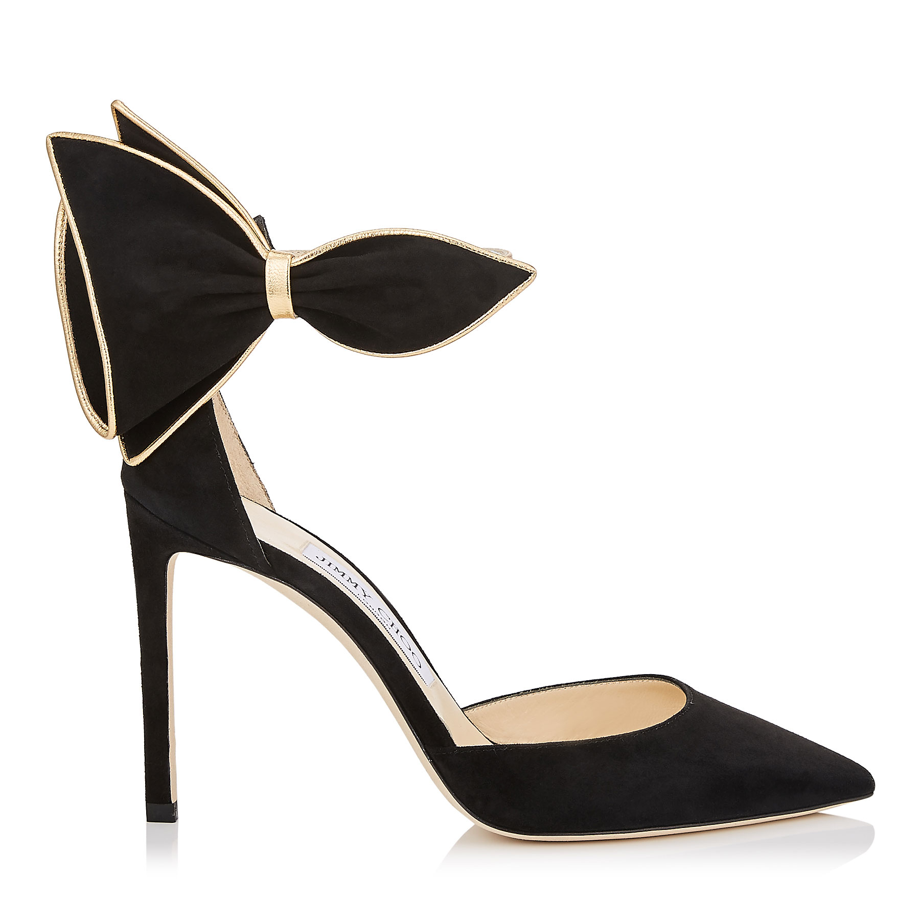 KELLEY 100 Black Suede Pointy Toe Pumps with Gold Metallic Nappa Leather Piping by Jimmy Choo