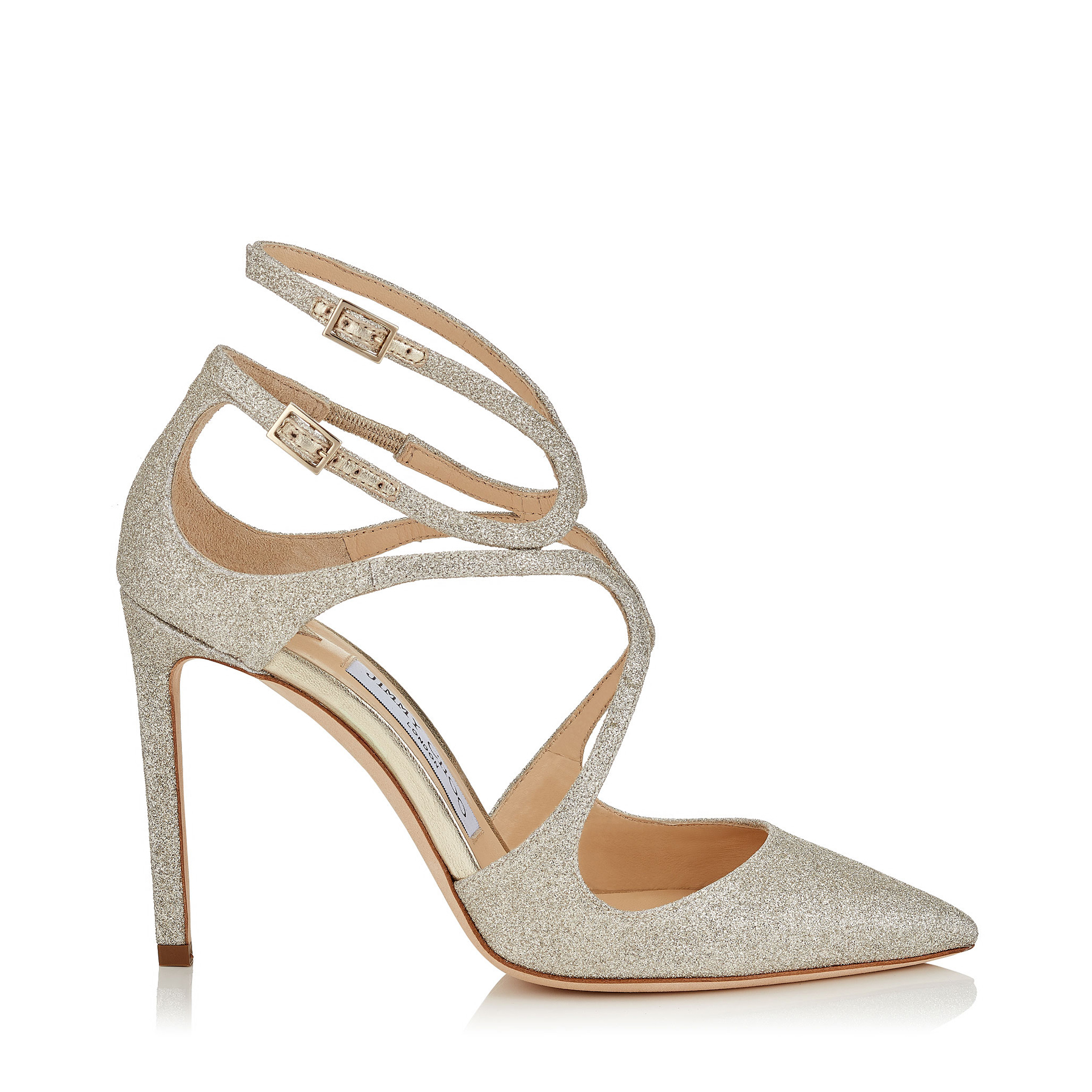 LANCER 100 Platinum Ice Dusty Glitter Pointy Toe Pumps by Jimmy Choo