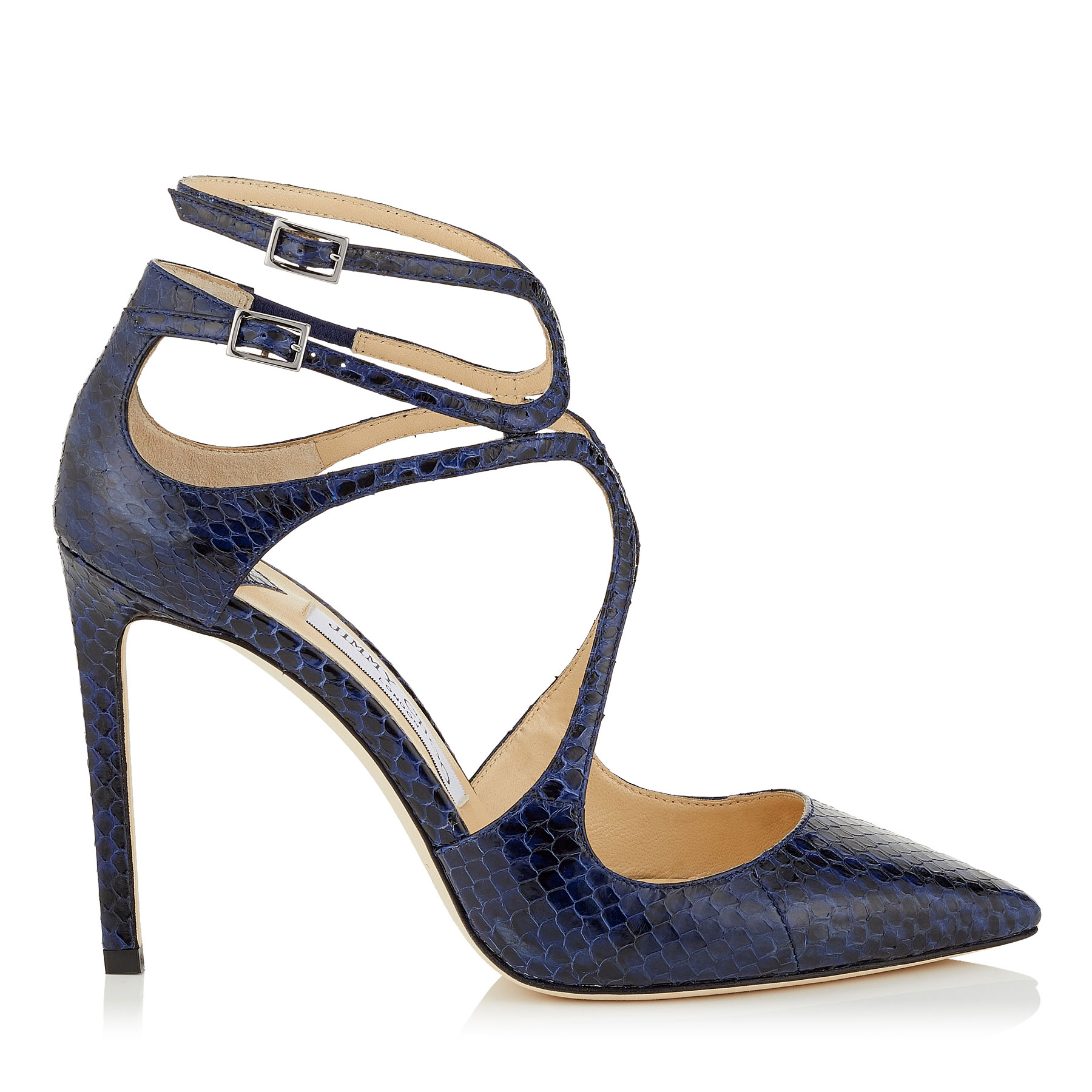 LANCER 100 Pop Blue Gloss Elaphe Pointy Toe Pumps by Jimmy Choo