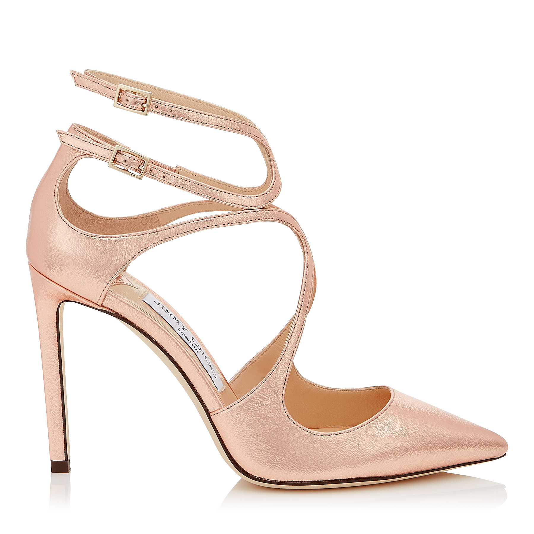 Photo of LANCER 100 Tea Rose Metallic Leather Pointy Toe Pumps by Jimmy Choo womens shoes - buy Jimmy Choo footwear online