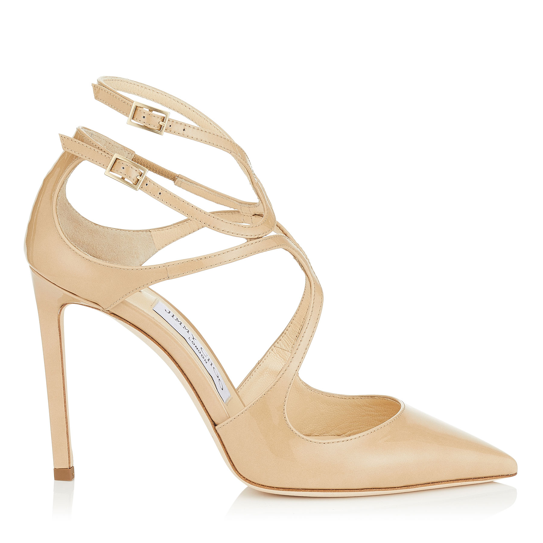 LANCER 100 Nude Patent Leather Pointy Toe Pumps by Jimmy Choo