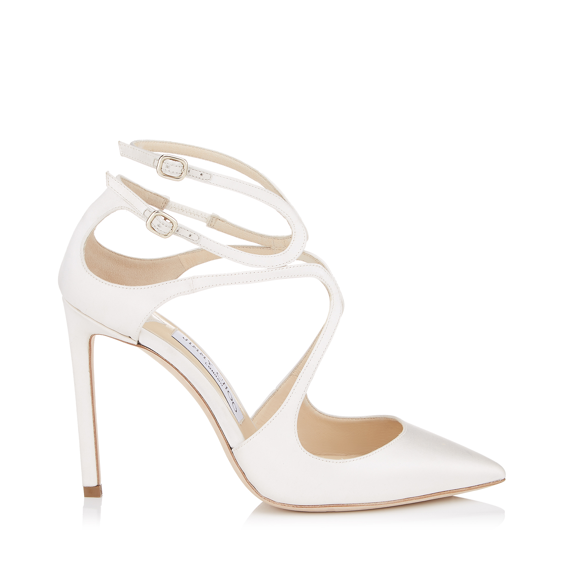 LANCER 100 Ivory Satin Pointy Toe Pumps by Jimmy Choo