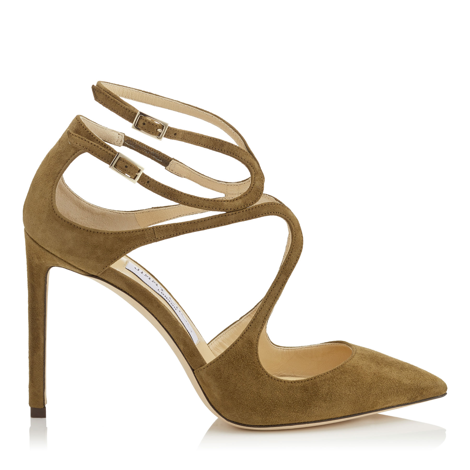 LANCER 100 Olive Suede Pointy Toe Pumps by Jimmy Choo