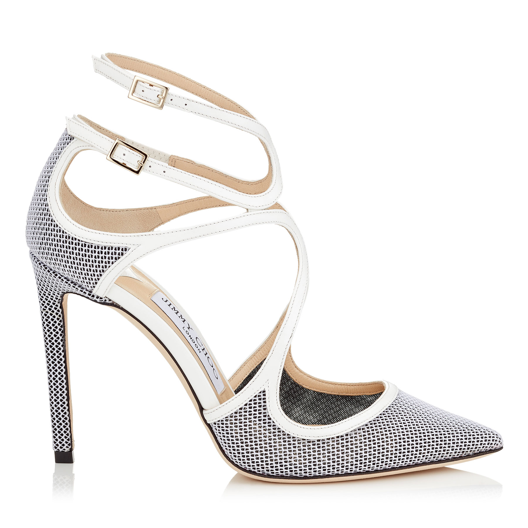 LANCER 100 Chalk Mix Techno Raffia and Patent Pointy Toe Pumps by Jimmy Choo
