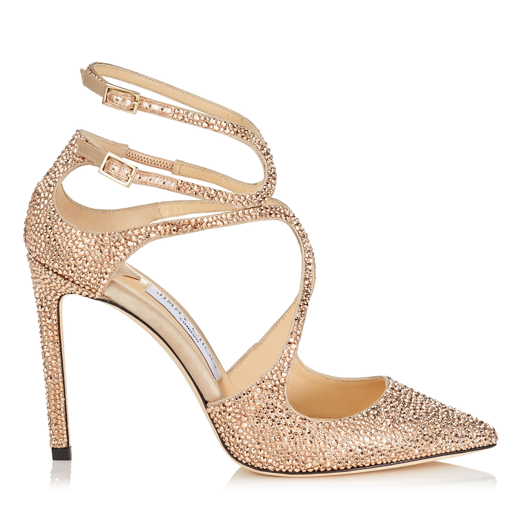 LANCER 100 Rose Gold Satin Pointy Toe Pumps with Crystal Hotfix by Jimmy Choo