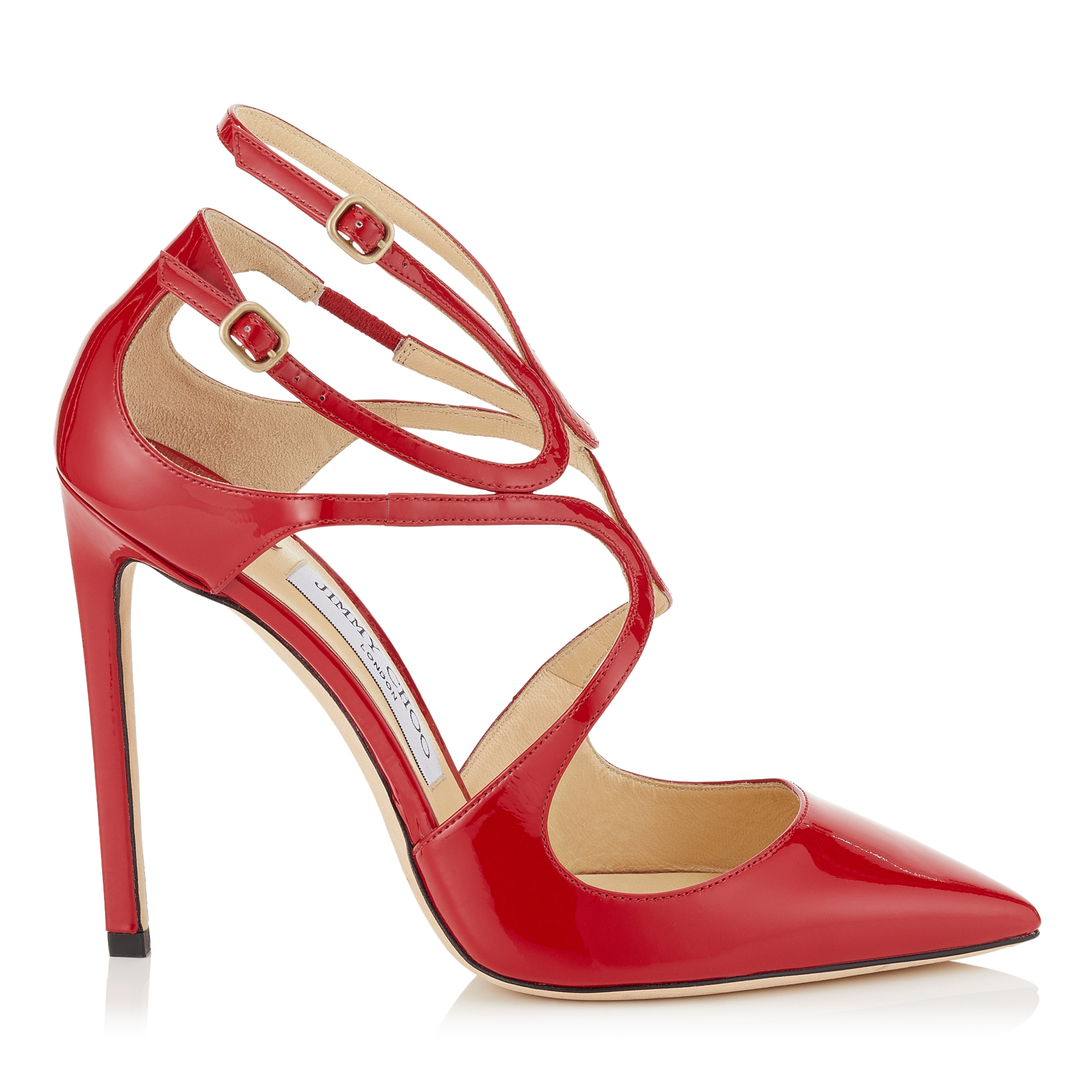 LANCER 110 Red Patent Leather Pointy Toe Pumps by Jimmy Choo