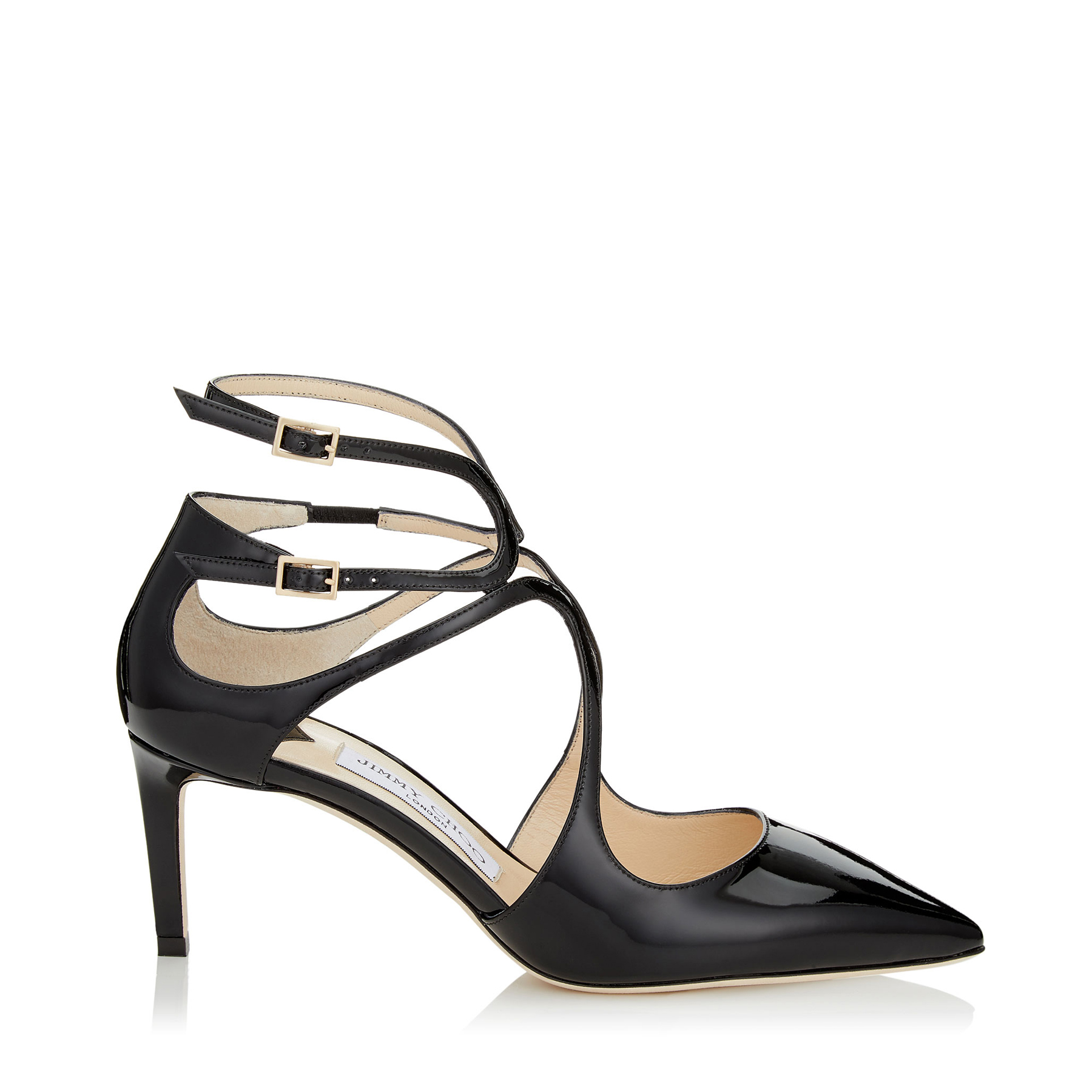 LANCER 65 Black Patent Leather Pointy Toe Pumps by Jimmy Choo
