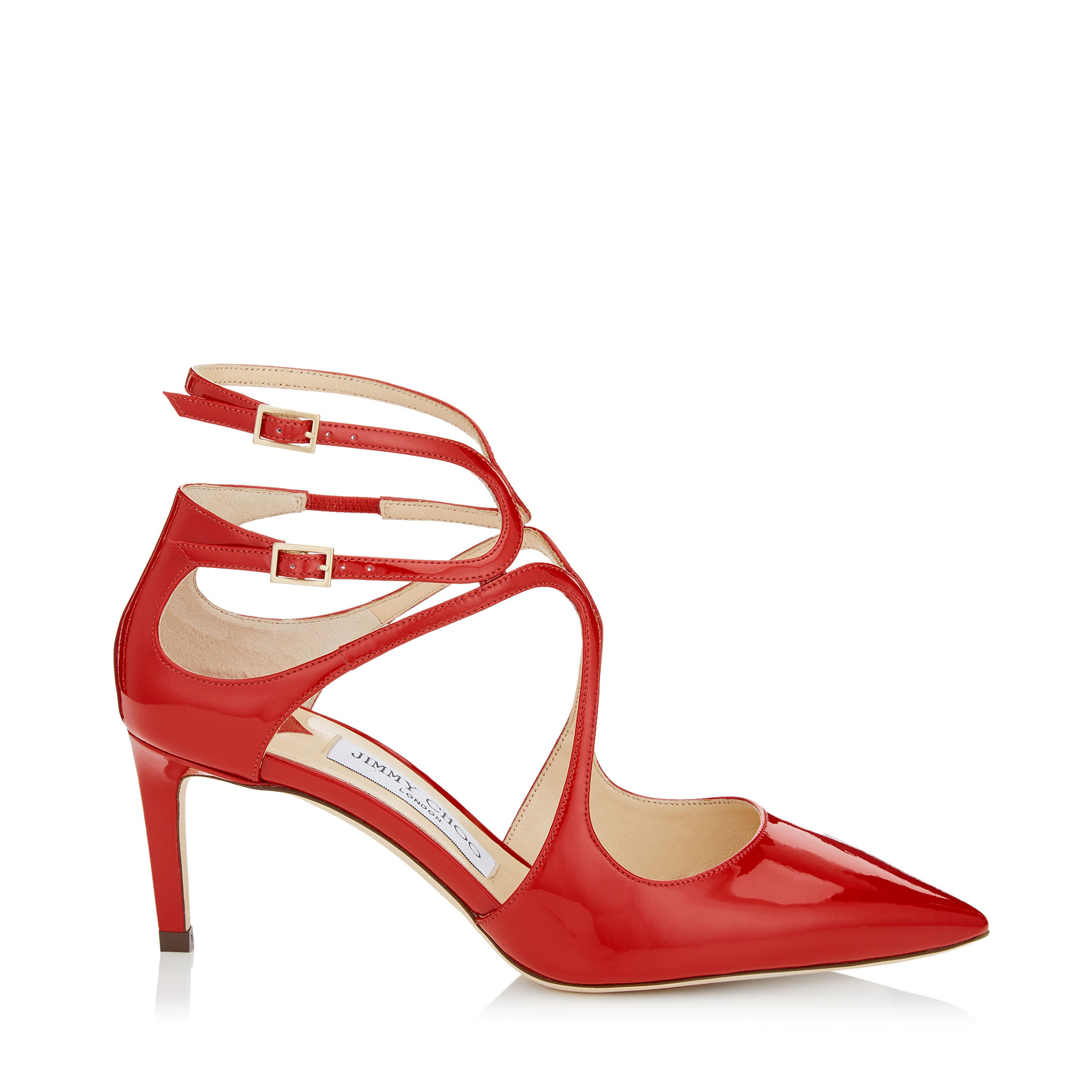 LANCER 65 Red Patent Leather Pointy Toe Pumps by Jimmy Choo