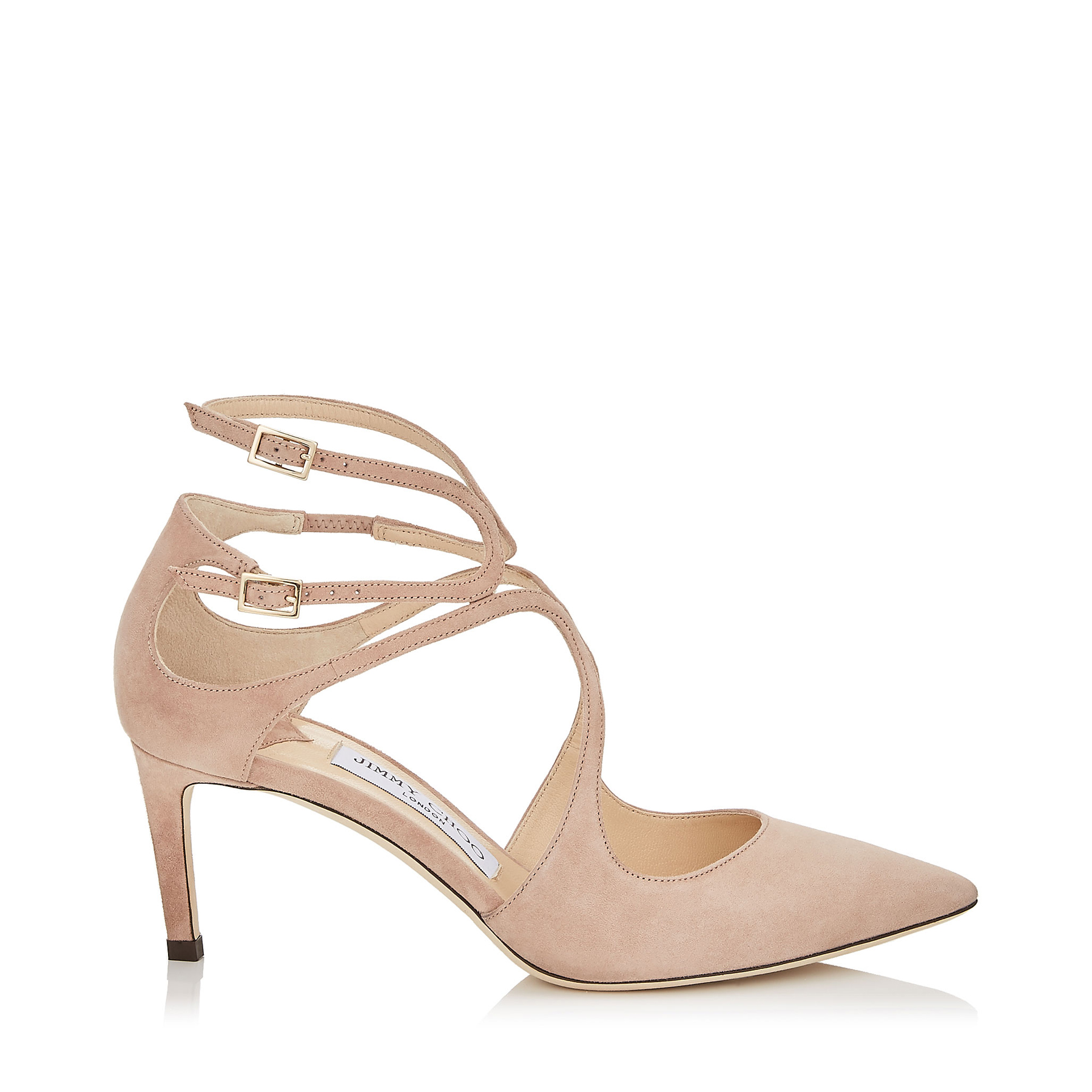 LANCER 65 Ballet Pink Suede Pointy Toe Pumps by Jimmy Choo