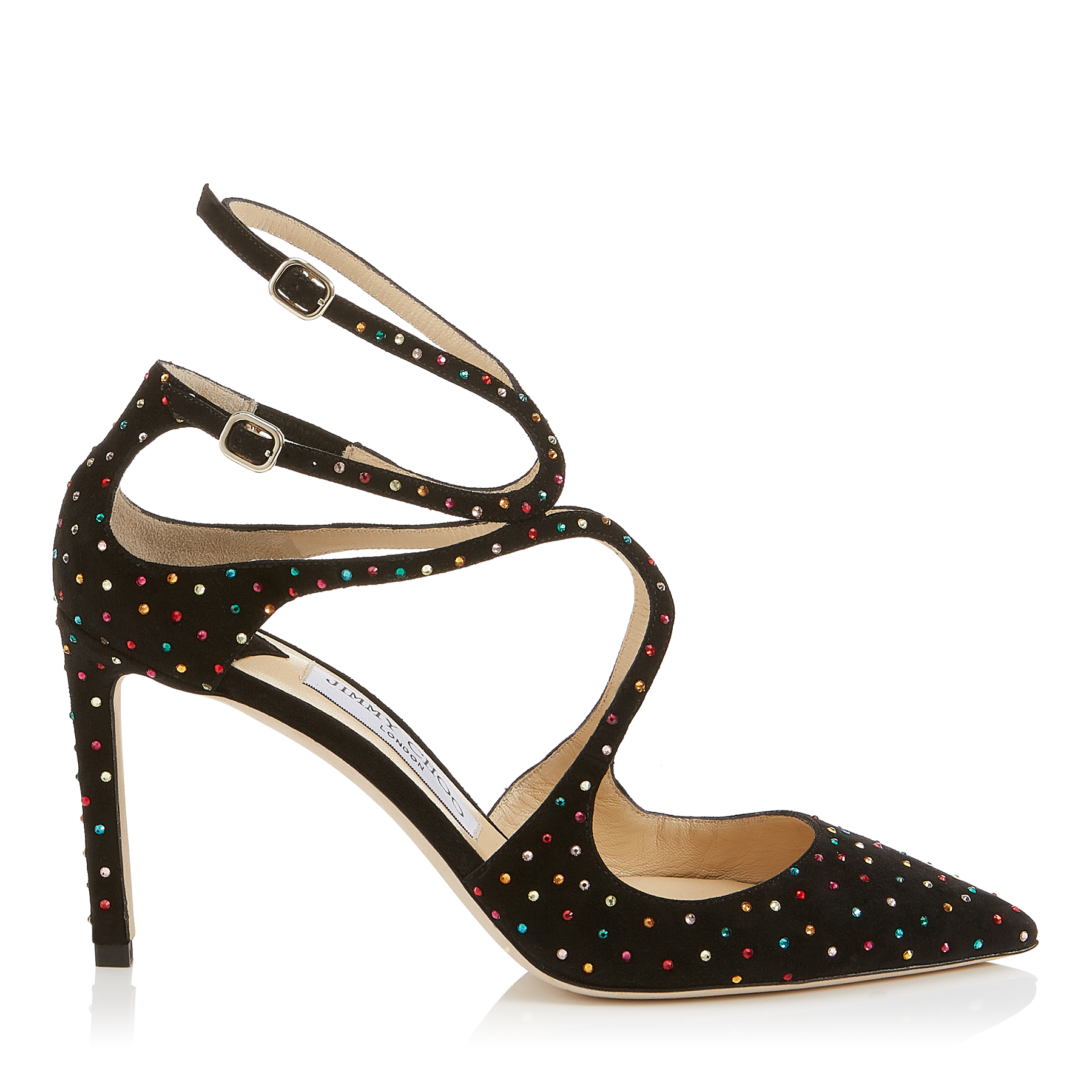 LANCER 85 Black Suede Pointy Toe Pumps with Multi Scattered Crystals by Jimmy Choo