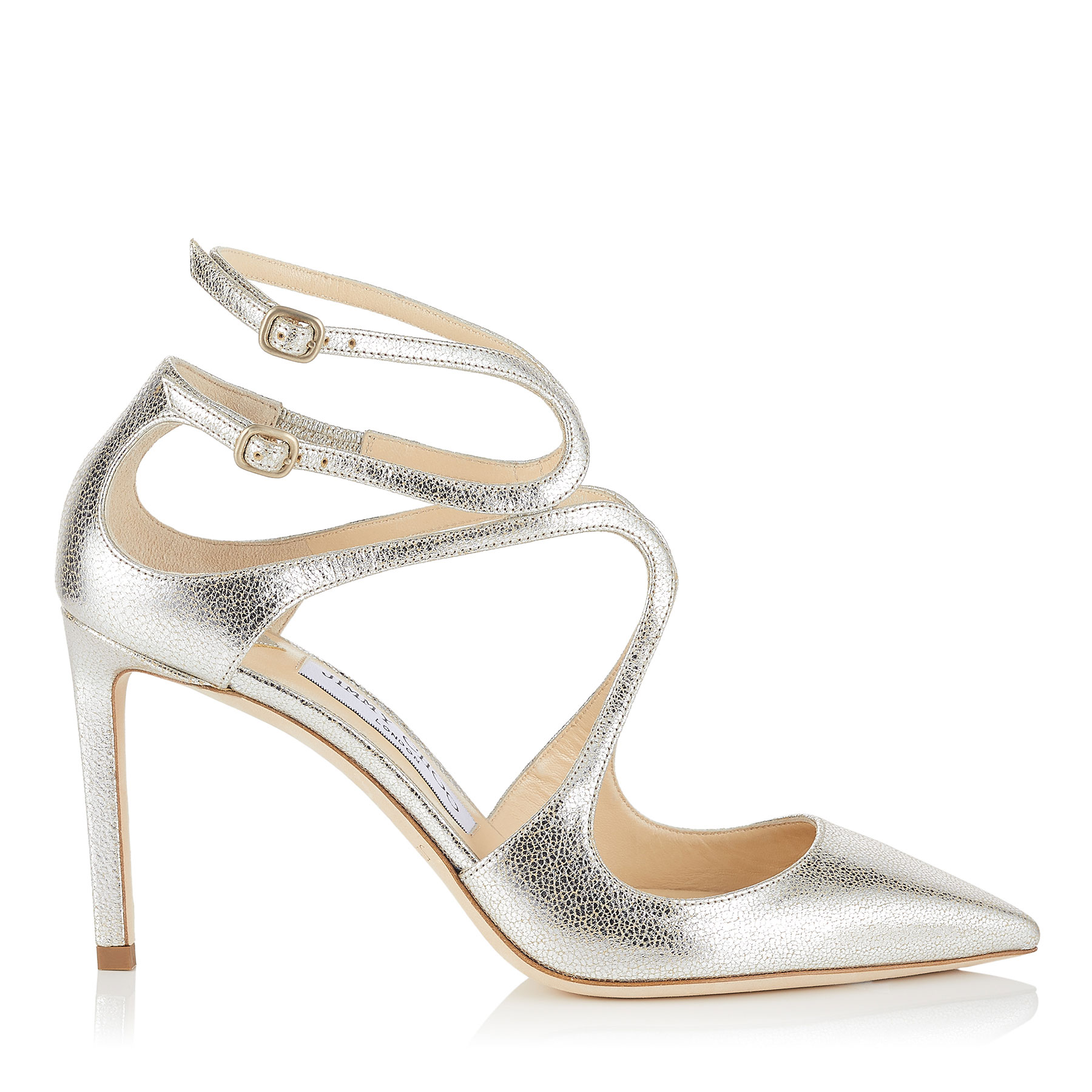 LANCER 85 Champagne Glitter Leather Pointy Toe Pumps by Jimmy Choo