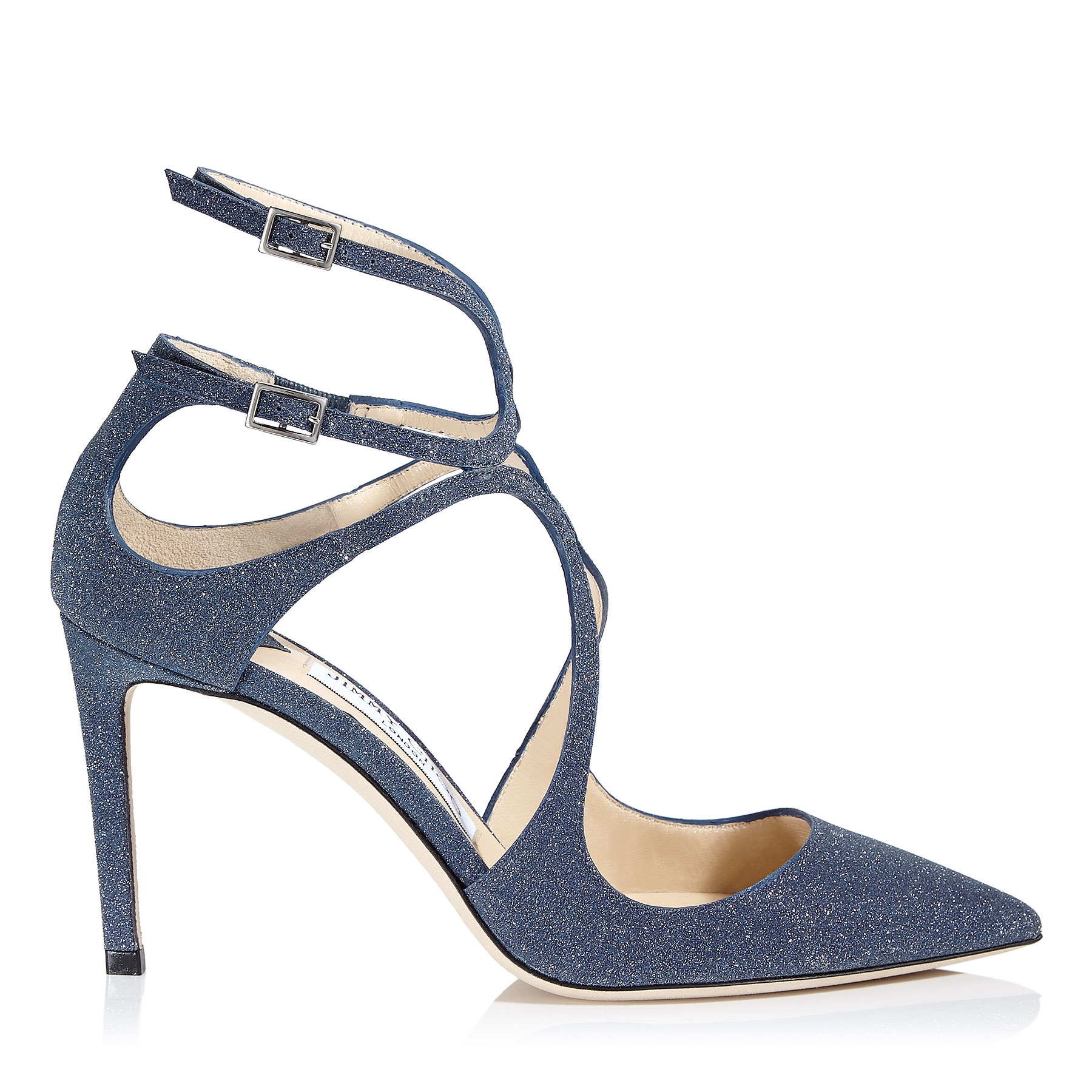 LANCER 85 Navy Fine Glitter Leather Pointy Toe Pumps by Jimmy Choo