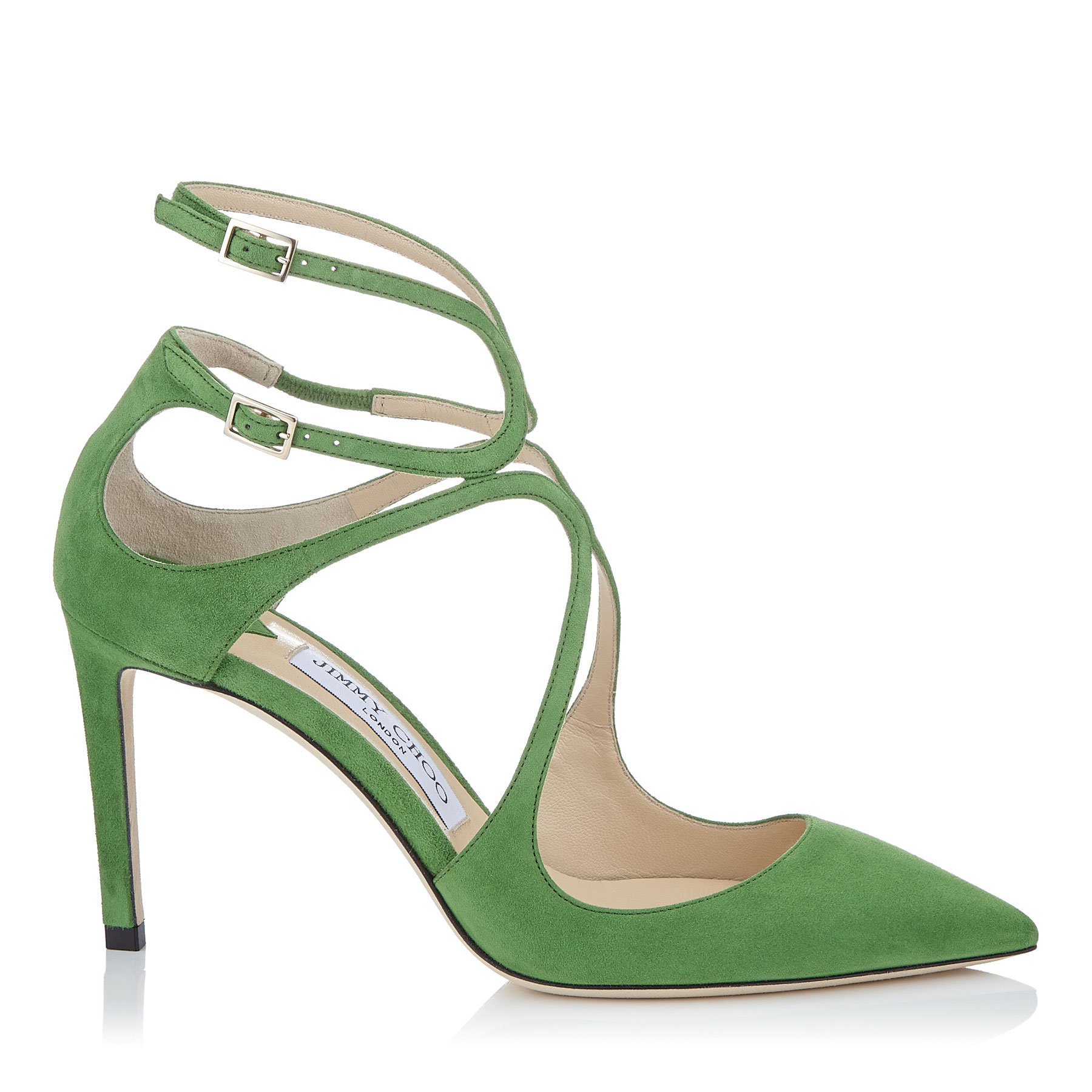 LANCER 85 Lime Suede Pointy Toe Pumps by Jimmy Choo