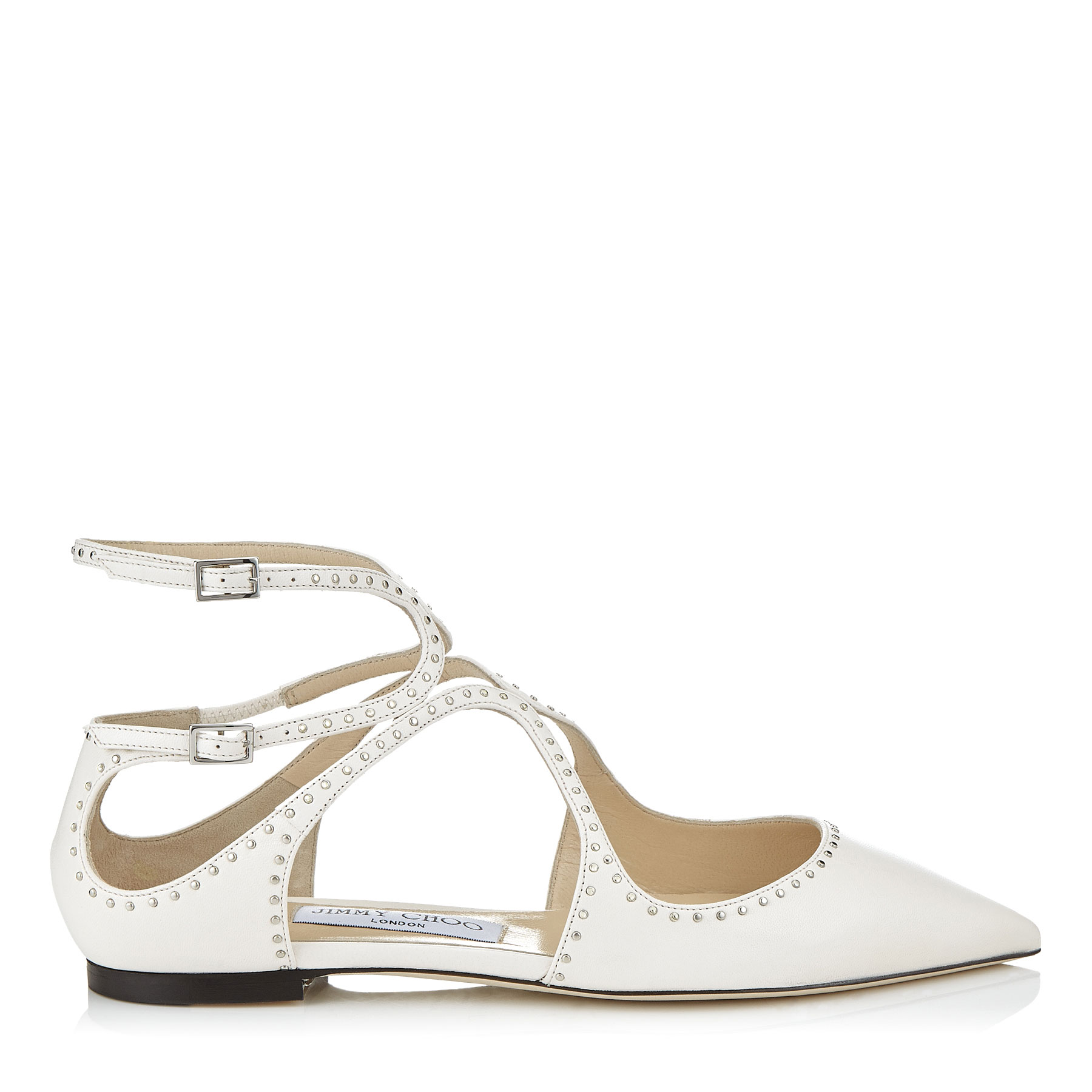 LANCER FLAT Chalk Nappa Leather Pointy Toe Flats with Silver Micro Studs by Jimmy Choo
