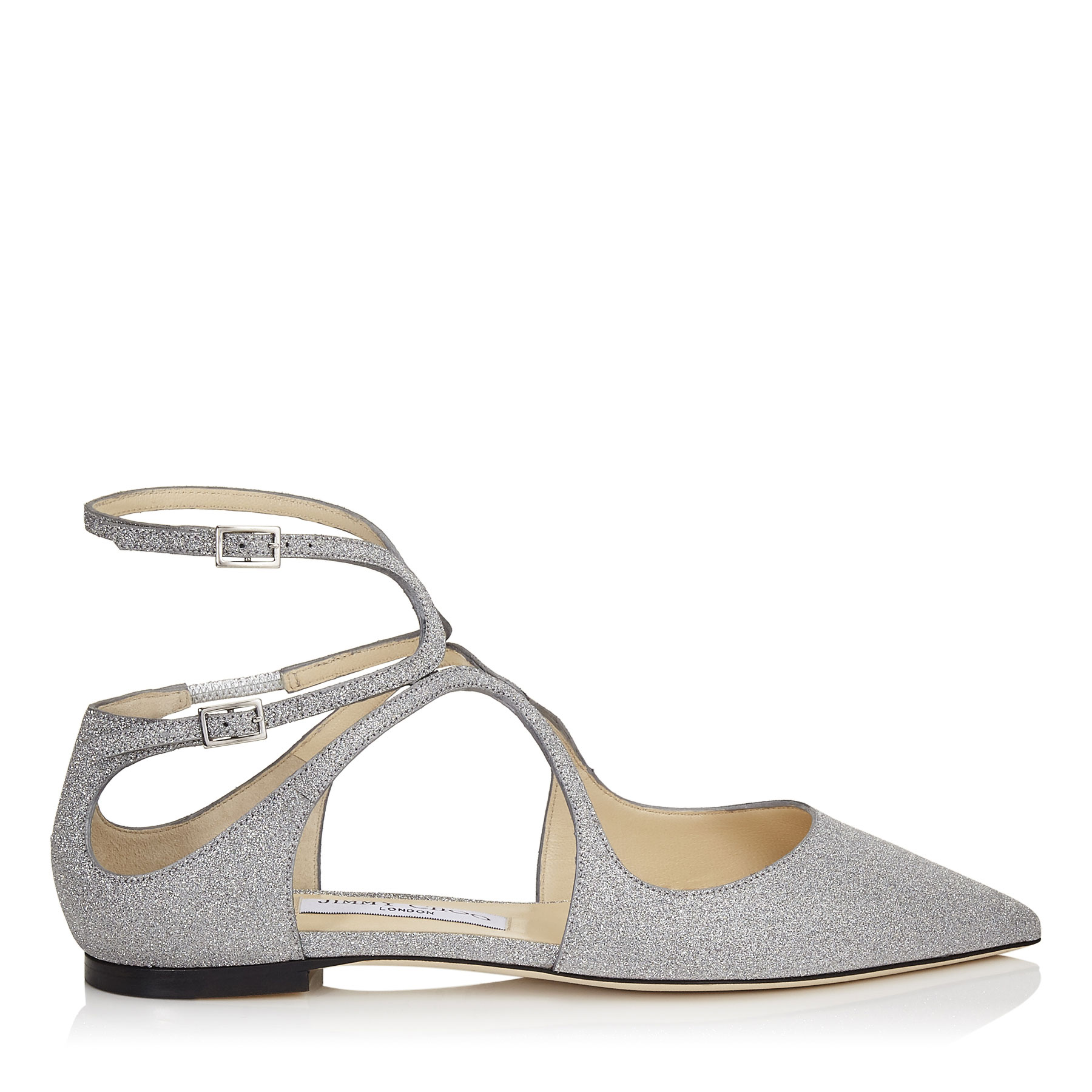 LANCER FLAT Silver Fine Glitter Leather Pointy Toe Flats by Jimmy Choo