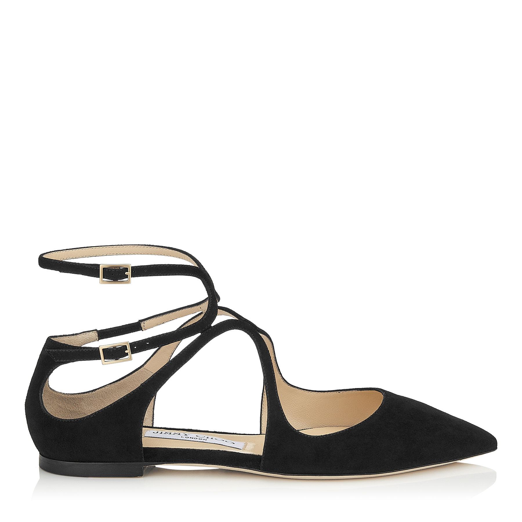 LANCER FLAT Black Suede Pointy Toe Flats by Jimmy Choo