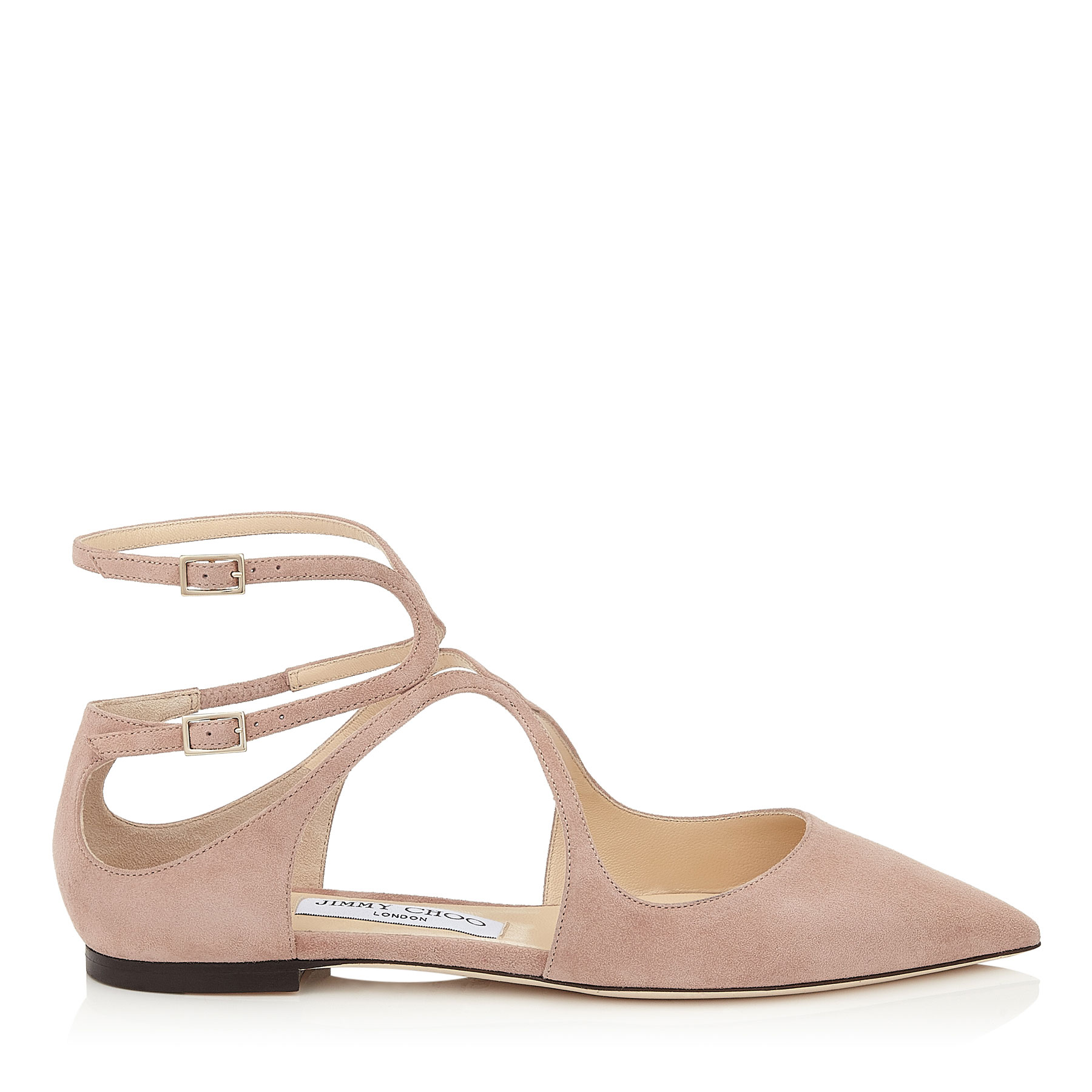 LANCER FLAT Ballet Pink Suede Pointy Toe Flats by Jimmy Choo