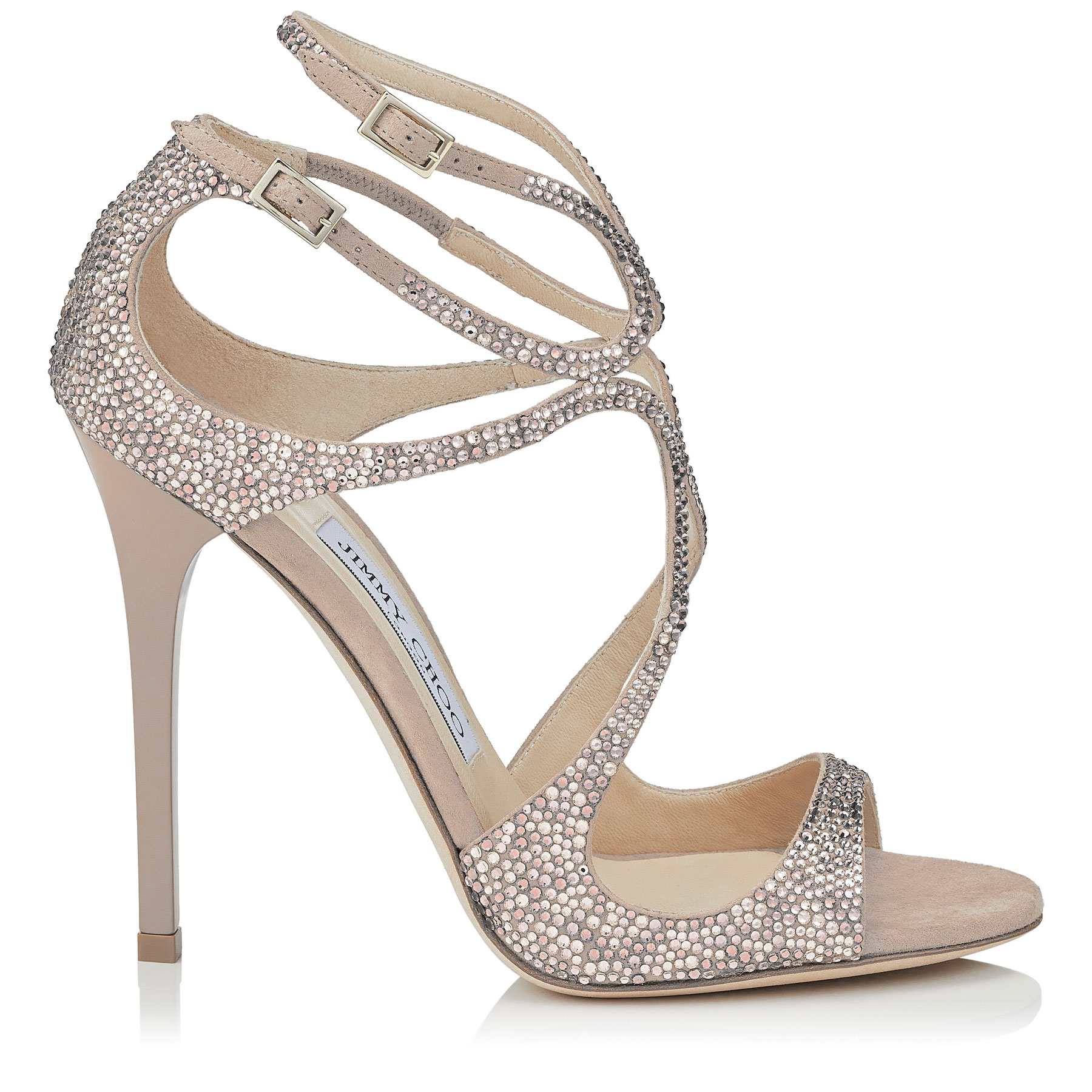 LANCE Ballet Pink Suede Sandals with Hotfix Crystals by Jimmy Choo