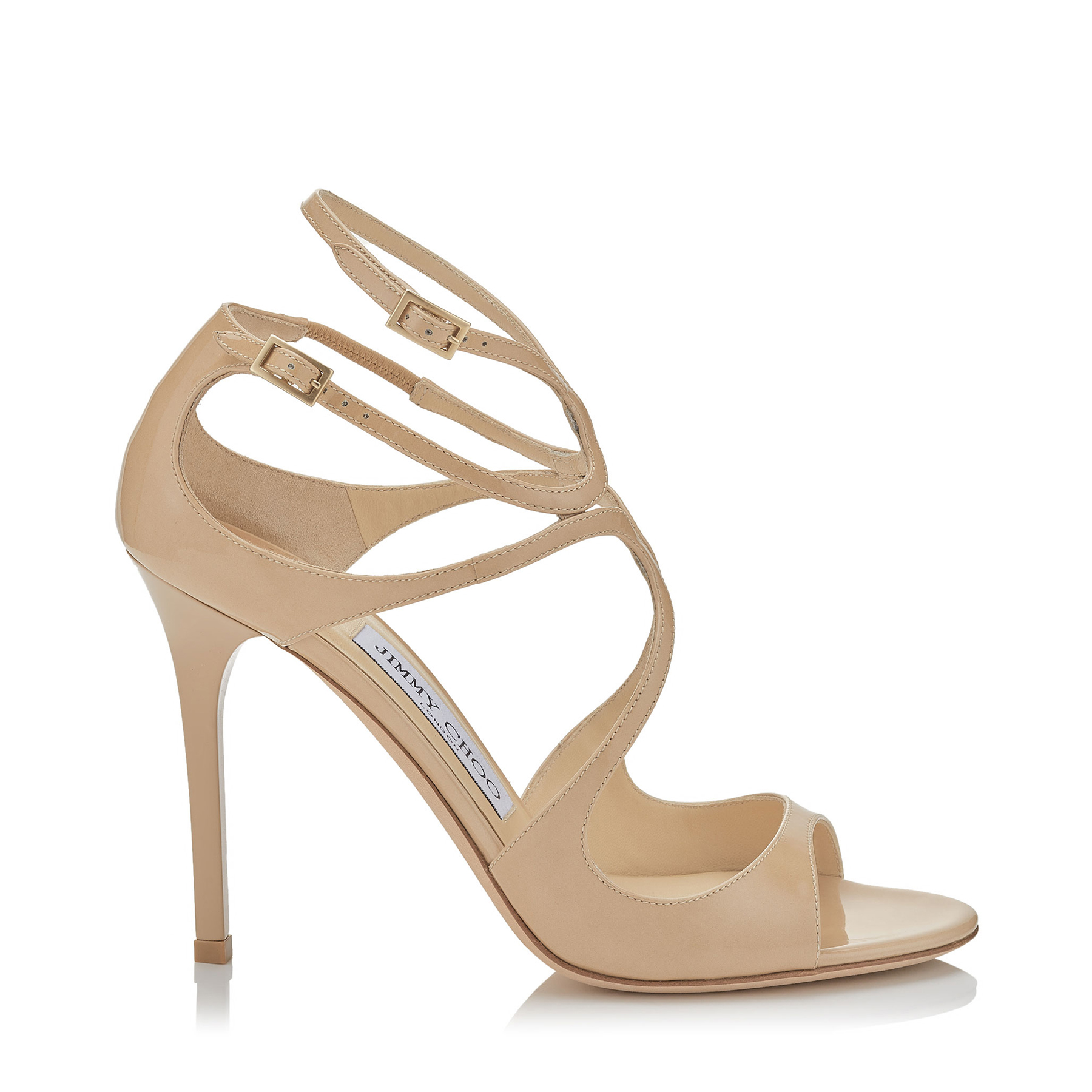LANG Nude Patent Sandals by Jimmy Choo