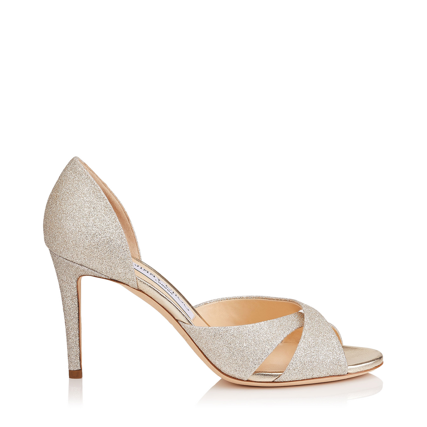 LARA 85 Platinum Ice Dusty Glitter Sandals by Jimmy Choo
