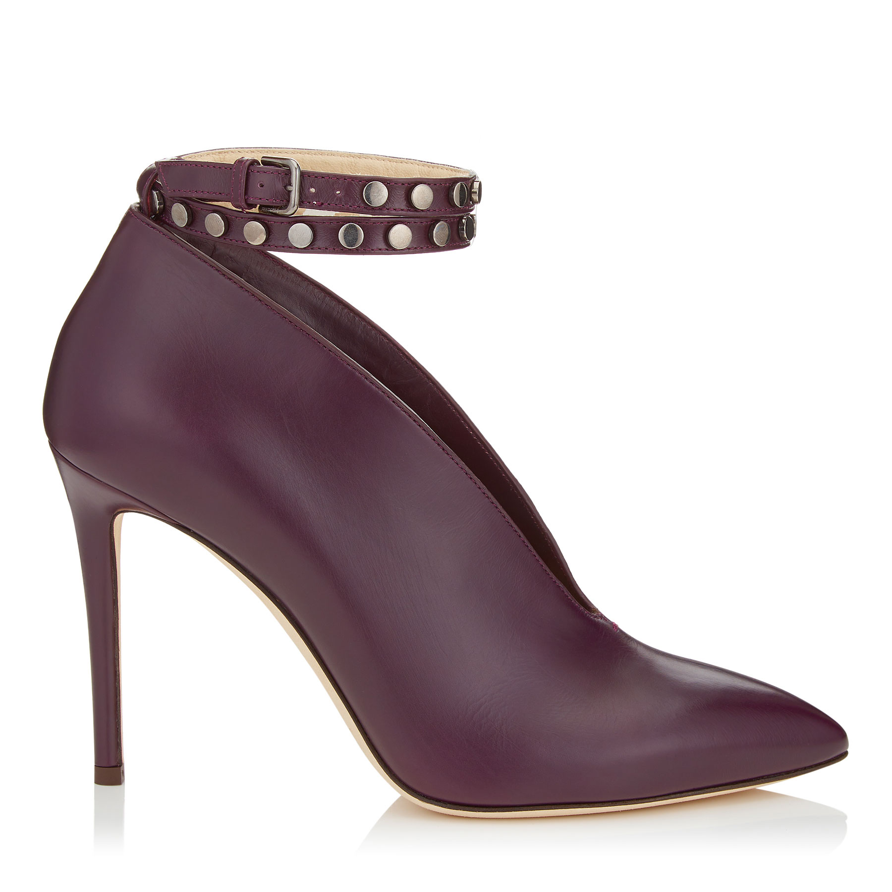 LARK 100 Grape Shiny Calf Leather Booties by Jimmy Choo